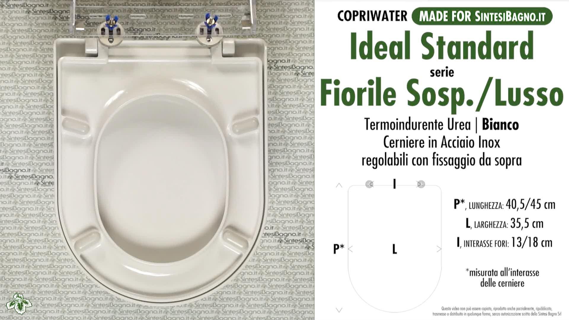 SCHEDA TECNICA MISURE copriwater IDEAL STANDARD FIORILE LUSSO SOSPESO