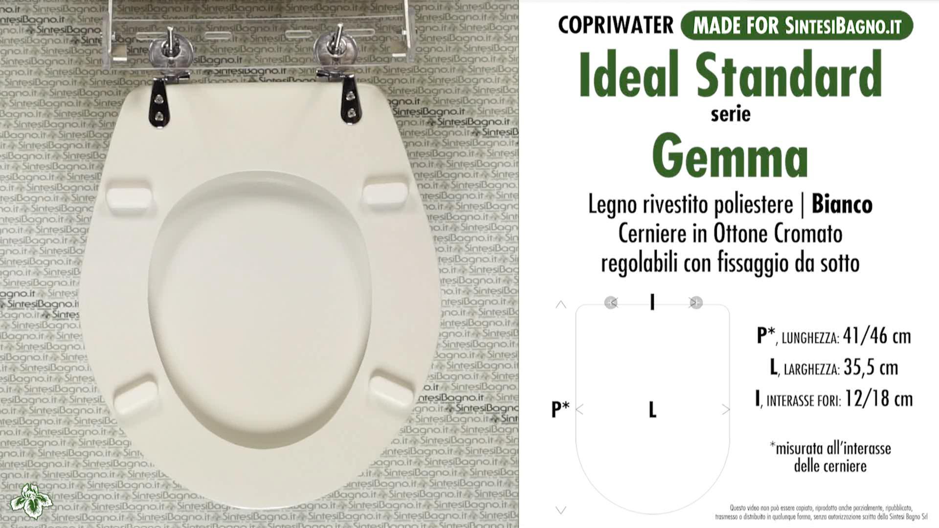 SCHEDA TECNICA MISURE copriwater IDEAL STANDARD GEMMA