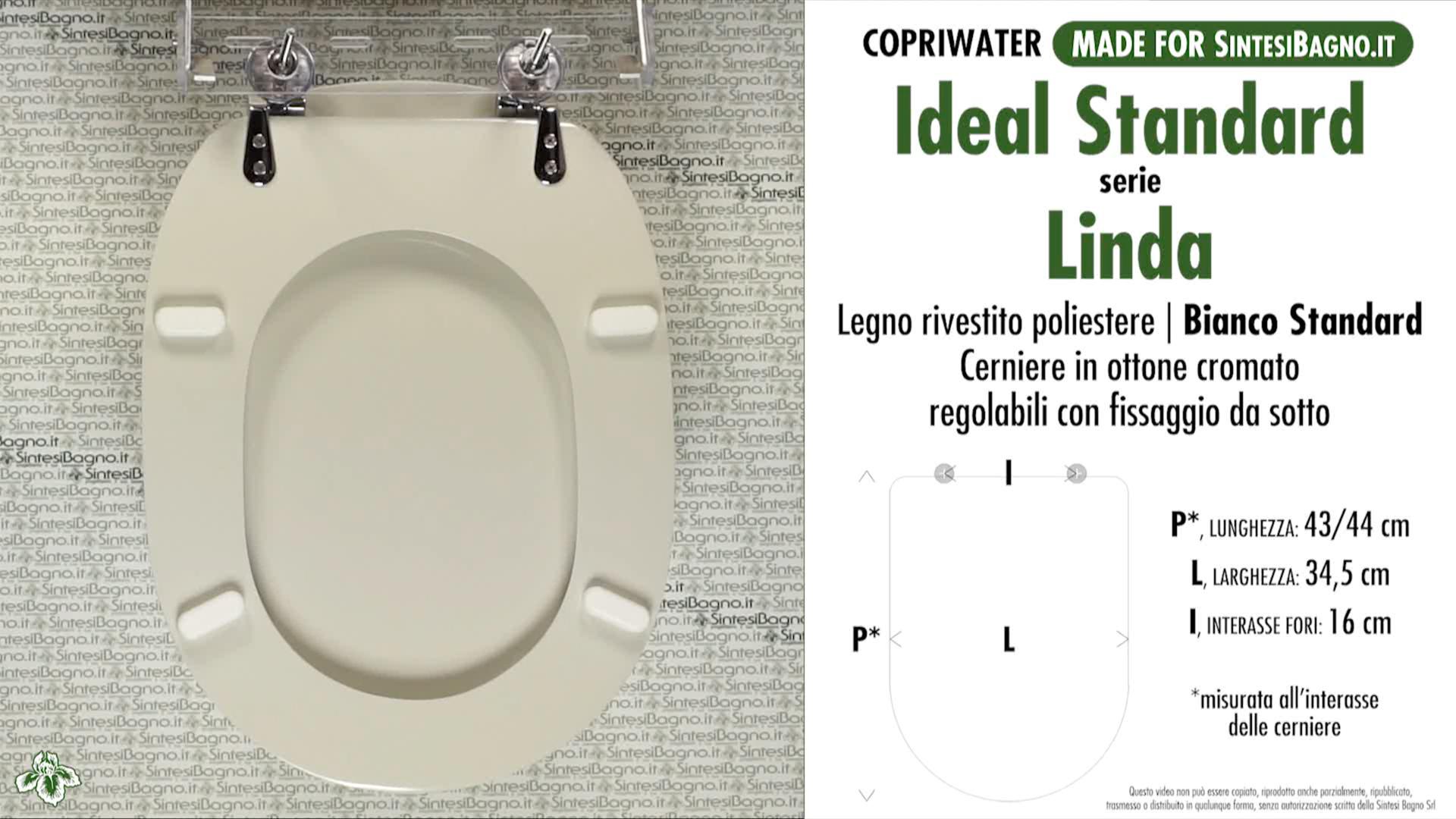 SCHEDA TECNICA MISURE copriwater IDEAL STANDARD LINDA
