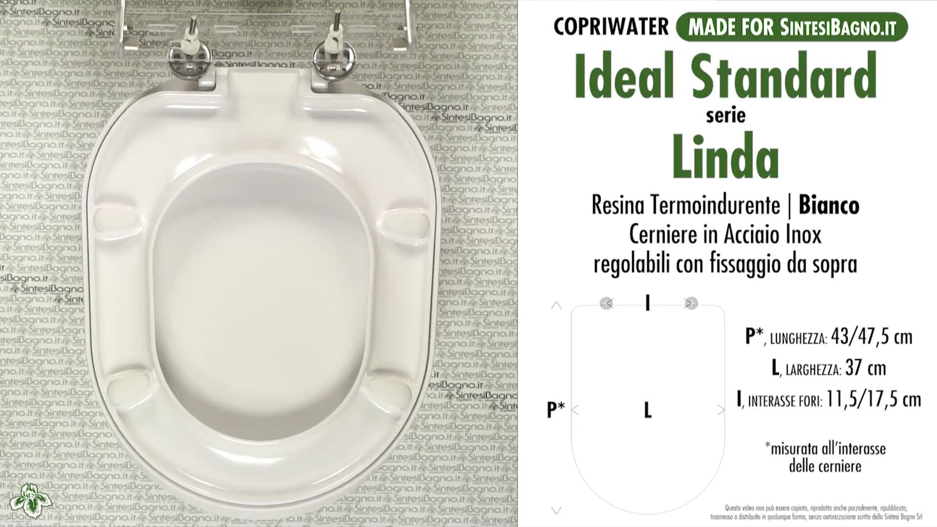Schede tecniche misure copriwater ideal standard serie linda for Copriwater ideal standard