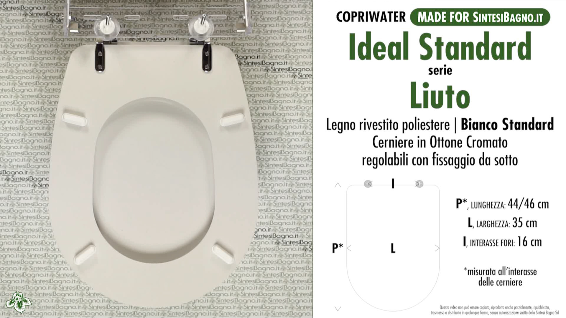 Schede tecniche misure copriwater ideal standard serie liuto for Ideal standard liuto bidet