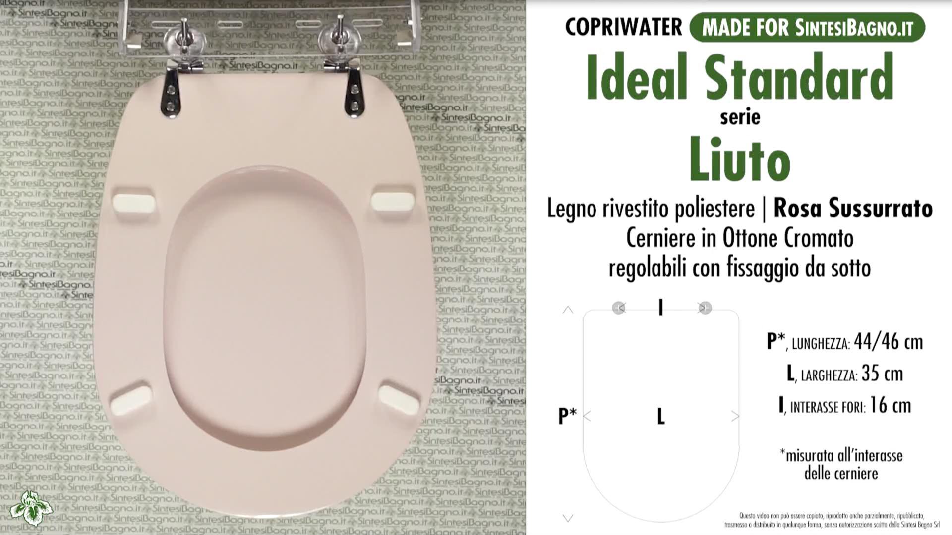 SCHEDA TECNICA MISURE copriwater IDEAL STANDARD LIUTO