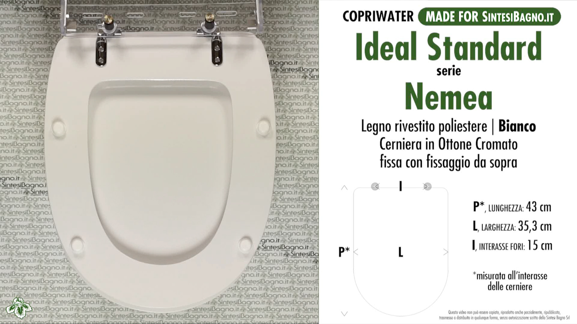 SCHEDA TECNICA MISURE copriwater IDEAL STANDARD NEMEA