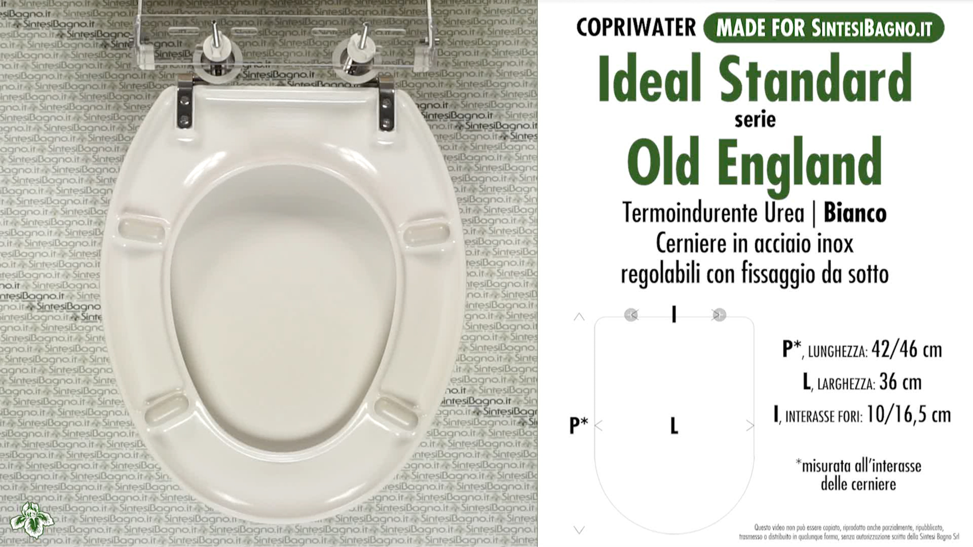 SCHEDA TECNICA MISURE copriwater IDEAL STANDARD OLD ENGLAND
