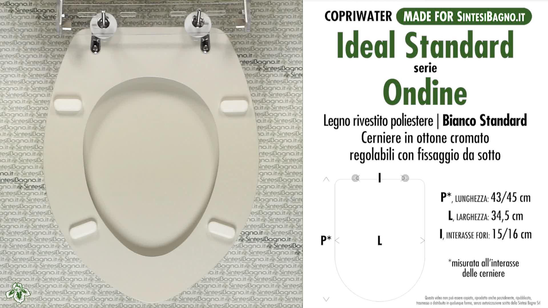 SCHEDA TECNICA MISURE copriwater IDEAL STANDARD ONDINE