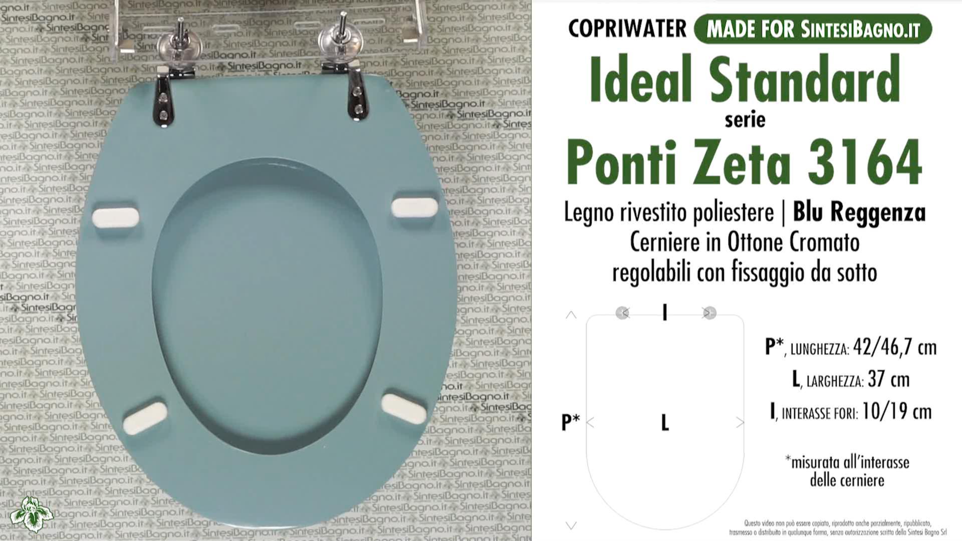 SCHEDA TECNICA MISURE copriwater IDEAL STANDARD ZANVAS