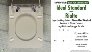 SCHEDA TECNICA MISURE copriwater IDEAL STANDARD RIALTO