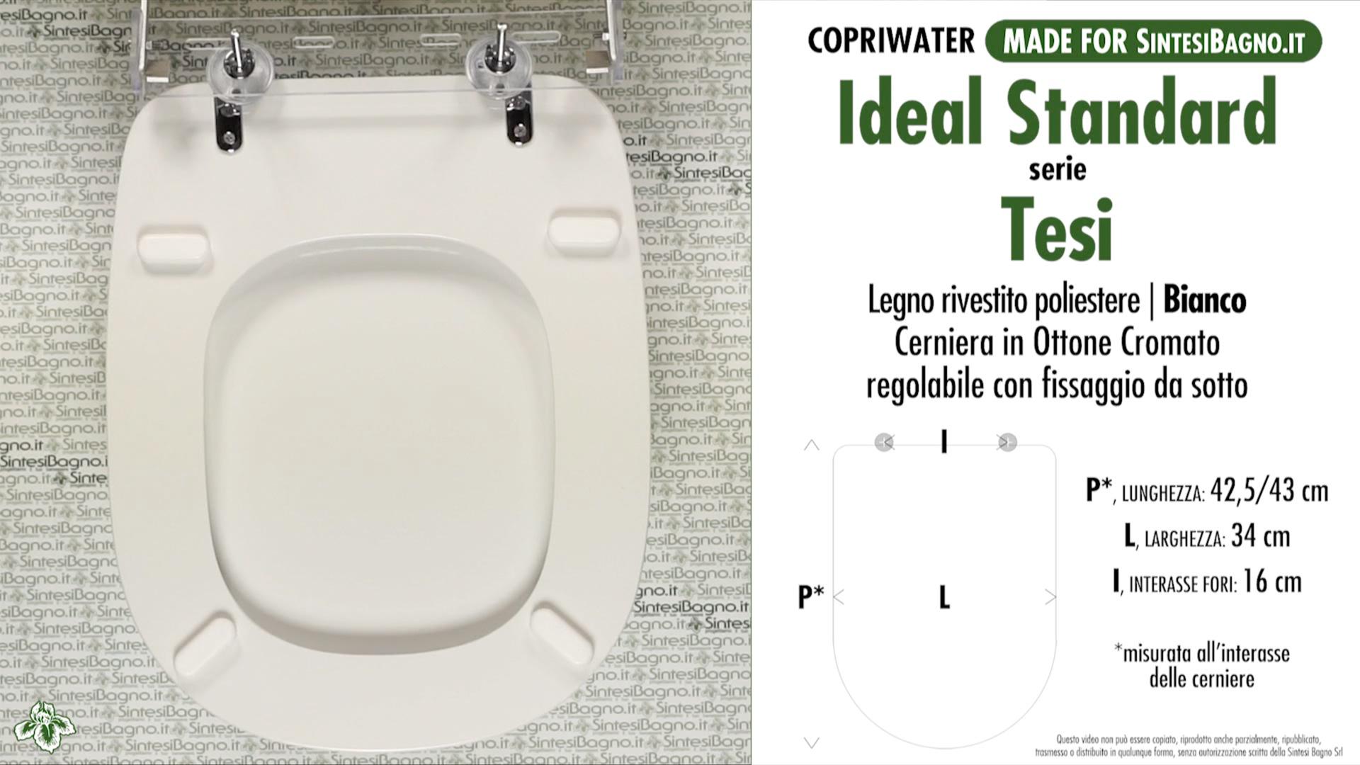 SCHEDA TECNICA MISURE copriwater IDEAL STANDARD TESI