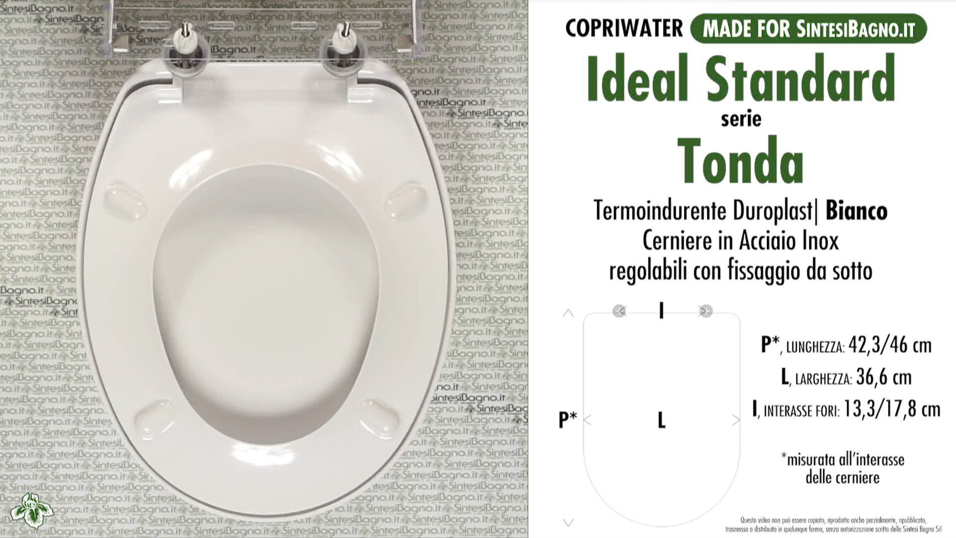 SCHEDA TECNICA MISURE copriwater IDEAL STANDARD TONDA