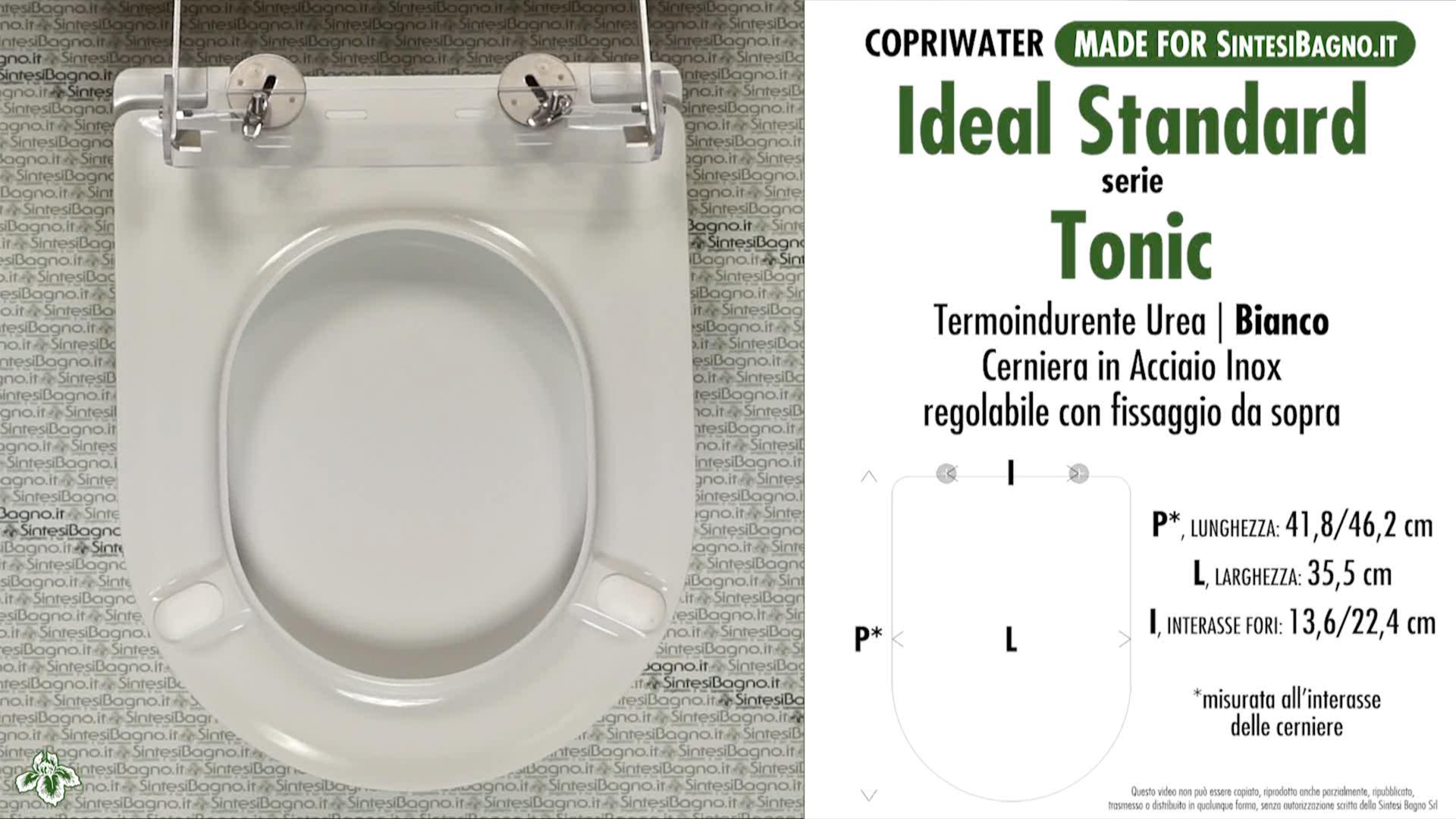 SCHEDA TECNICA MISURE copriwater IDEAL STANDARD TONIC