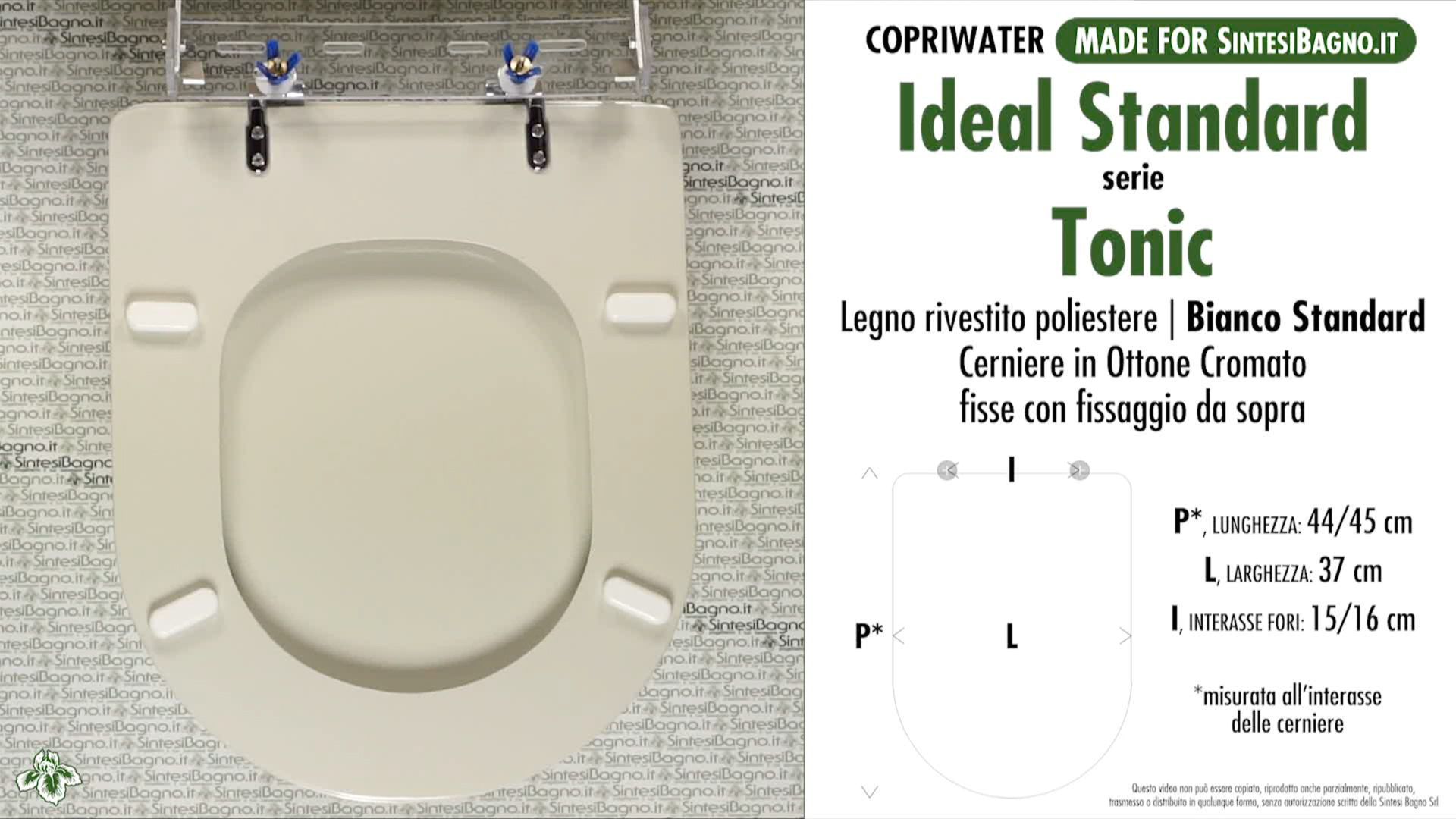 SCHEDA TECNICA MISURE copriwater IDEAL STANDARD TONIC