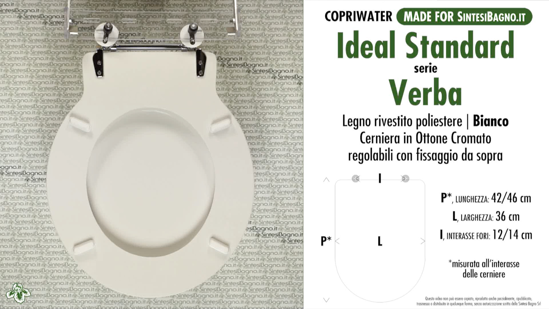 SCHEDA TECNICA MISURE copriwater IDEAL STANDARD VERBA
