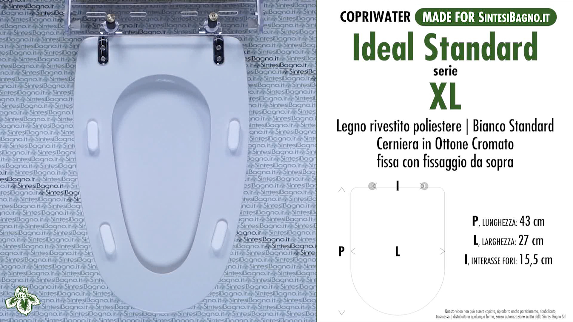 SCHEDA TECNICA MISURE copriwater IDEAL STANDARD XL