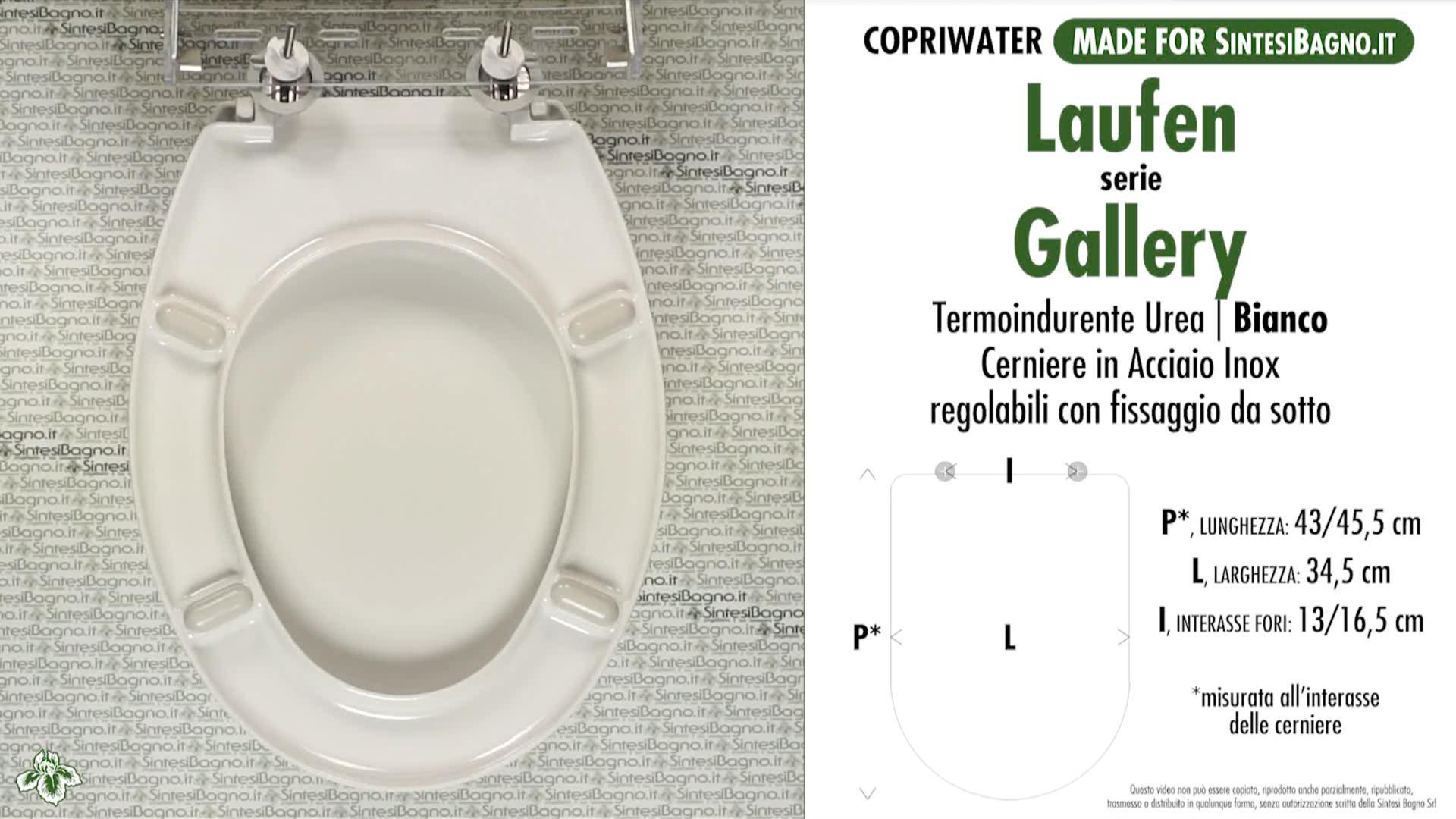 SCHEDA TECNICA MISURE copriwater LAUFEN/DURAVIT GALLERY