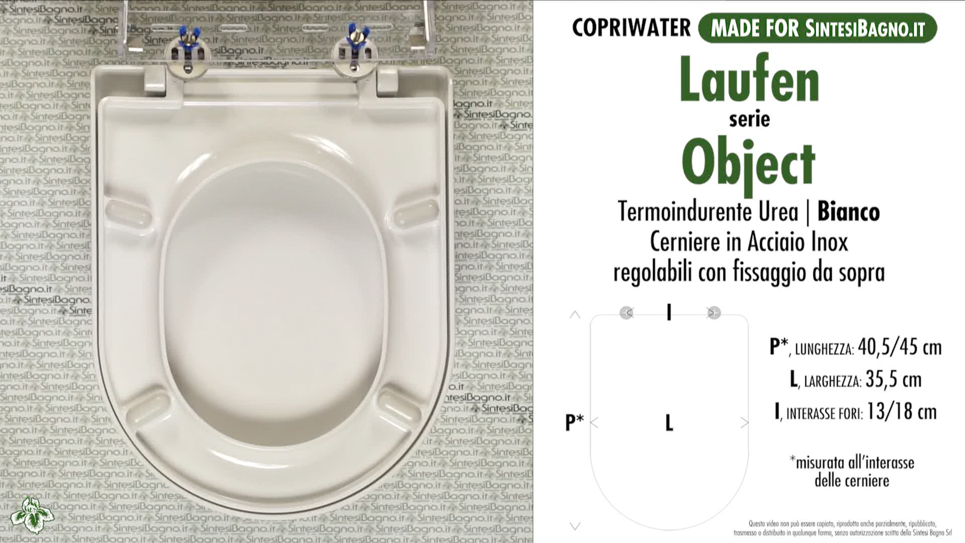 SCHEDA TECNICA MISURE copriwater LAUFEN/DURAVIT OBJECT