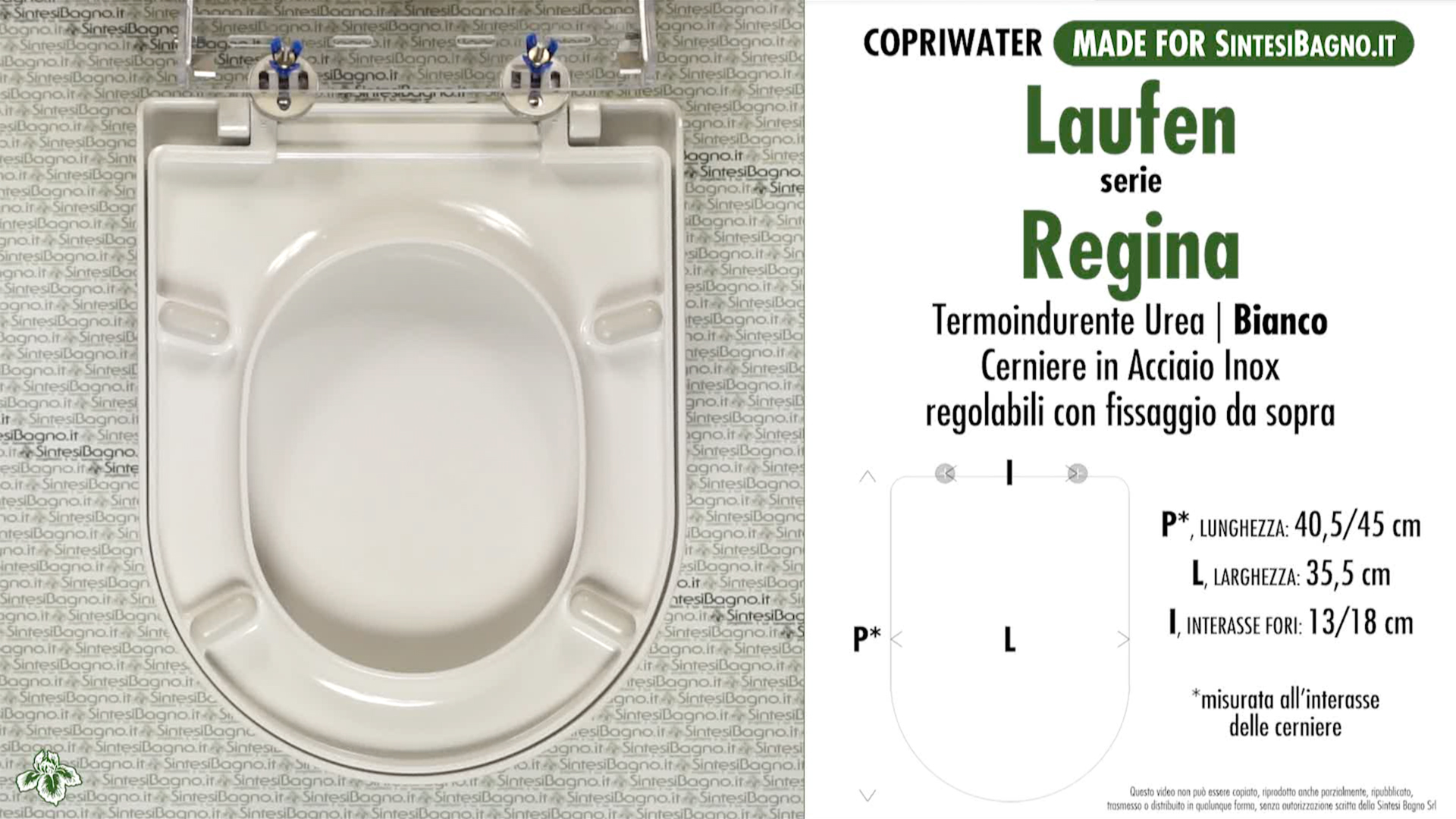 SCHEDA TECNICA MISURE copriwater LAUFEN/DURAVIT REGINA