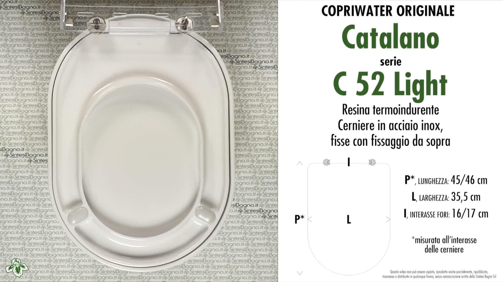 SCHEDA TECNICA MISURE copriwater CATALANO C 52/54