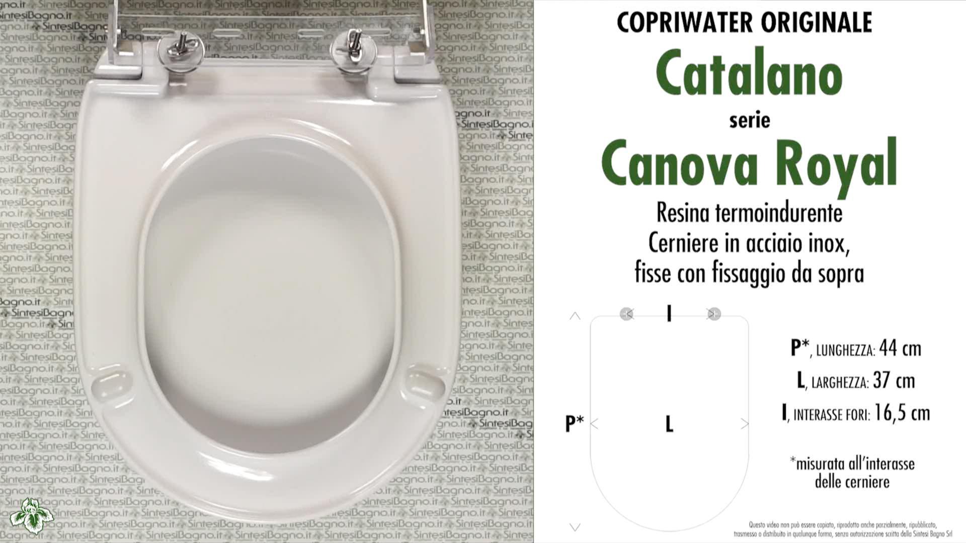 SCHEDA TECNICA MISURE copriwater CATALANO CANOVA ROYAL