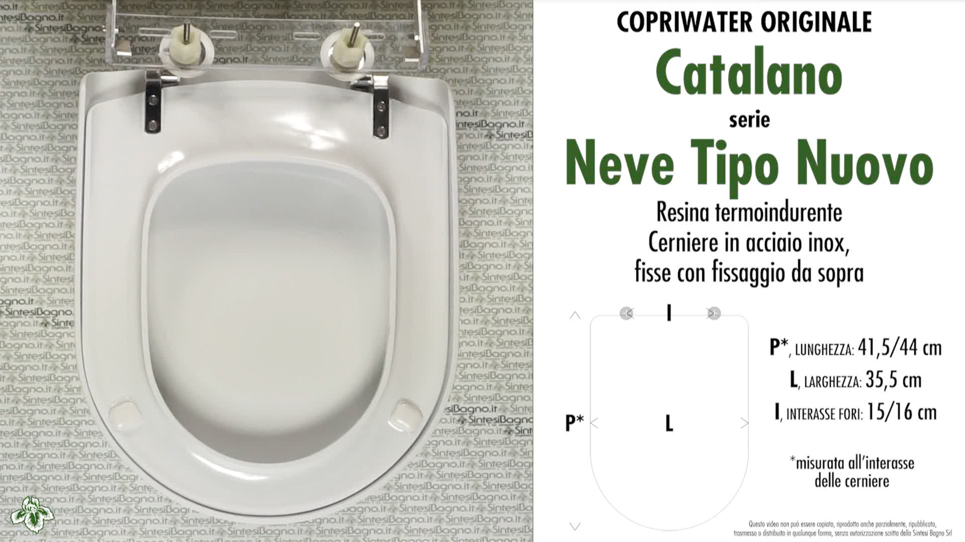 SCHEDA TECNICA MISURE copriwater CATALANO NEVE TIPO NUOVO