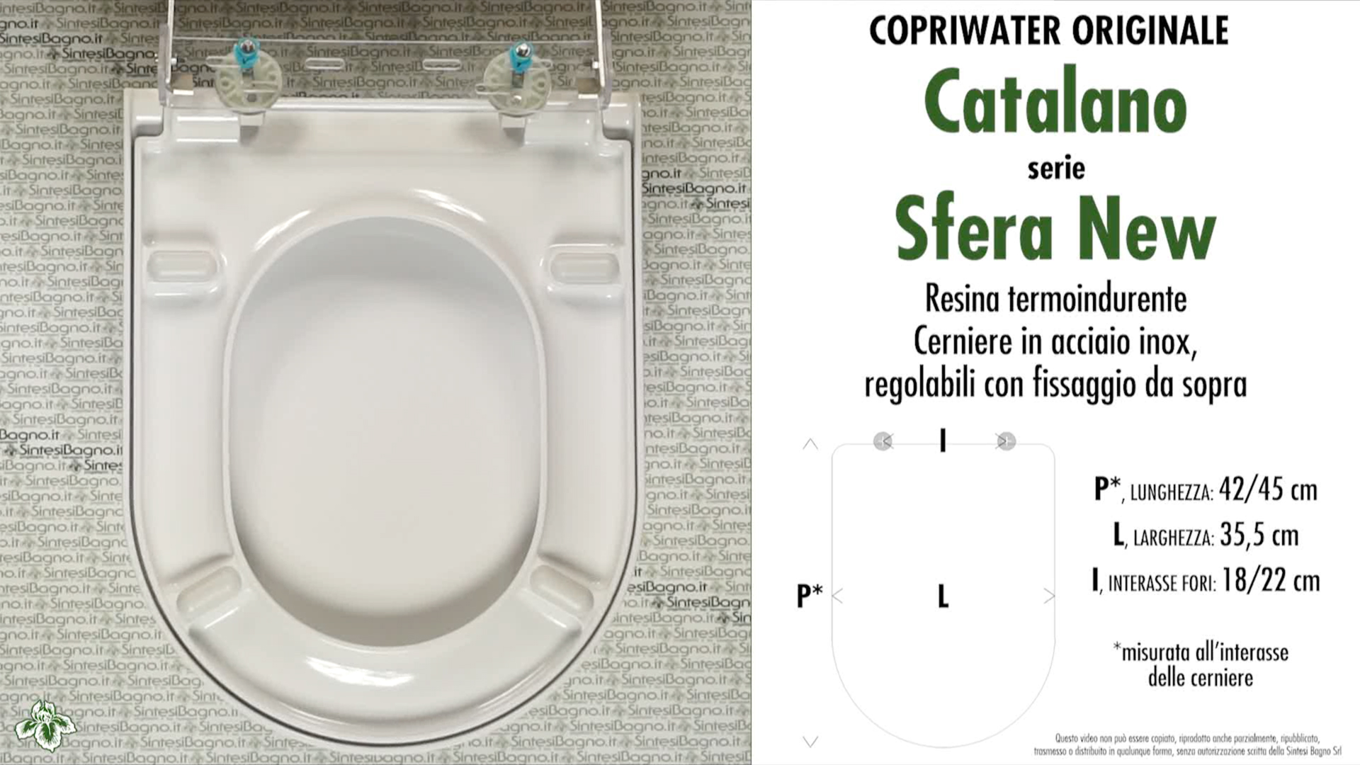 SCHEDA TECNICA MISURE copriwater CATALANO SFERA TIPO NUOVO