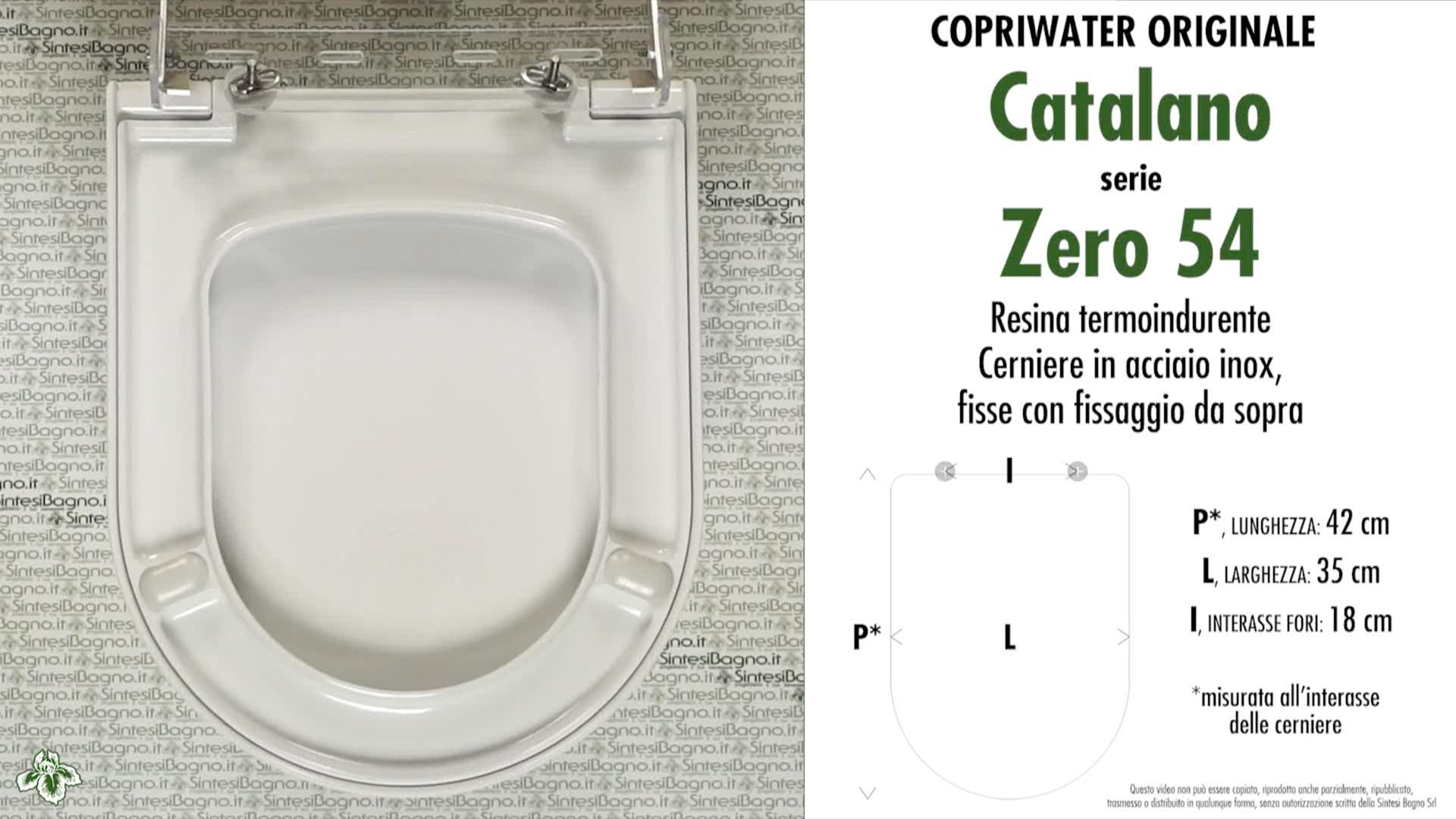 SCHEDA TECNICA MISURE copriwater CATALANO ZERO 54