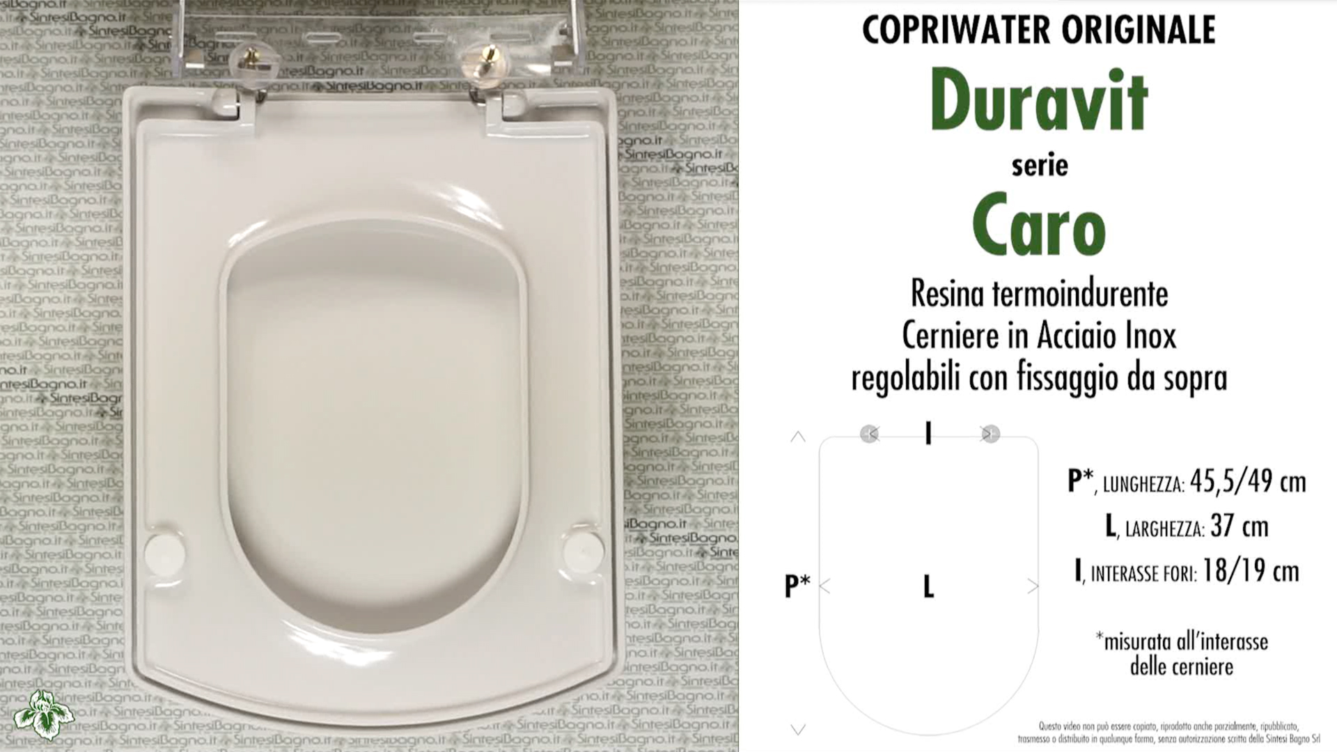 SCHEDA TECNICA MISURE copriwater LAUFEN/DURAVIT CARO