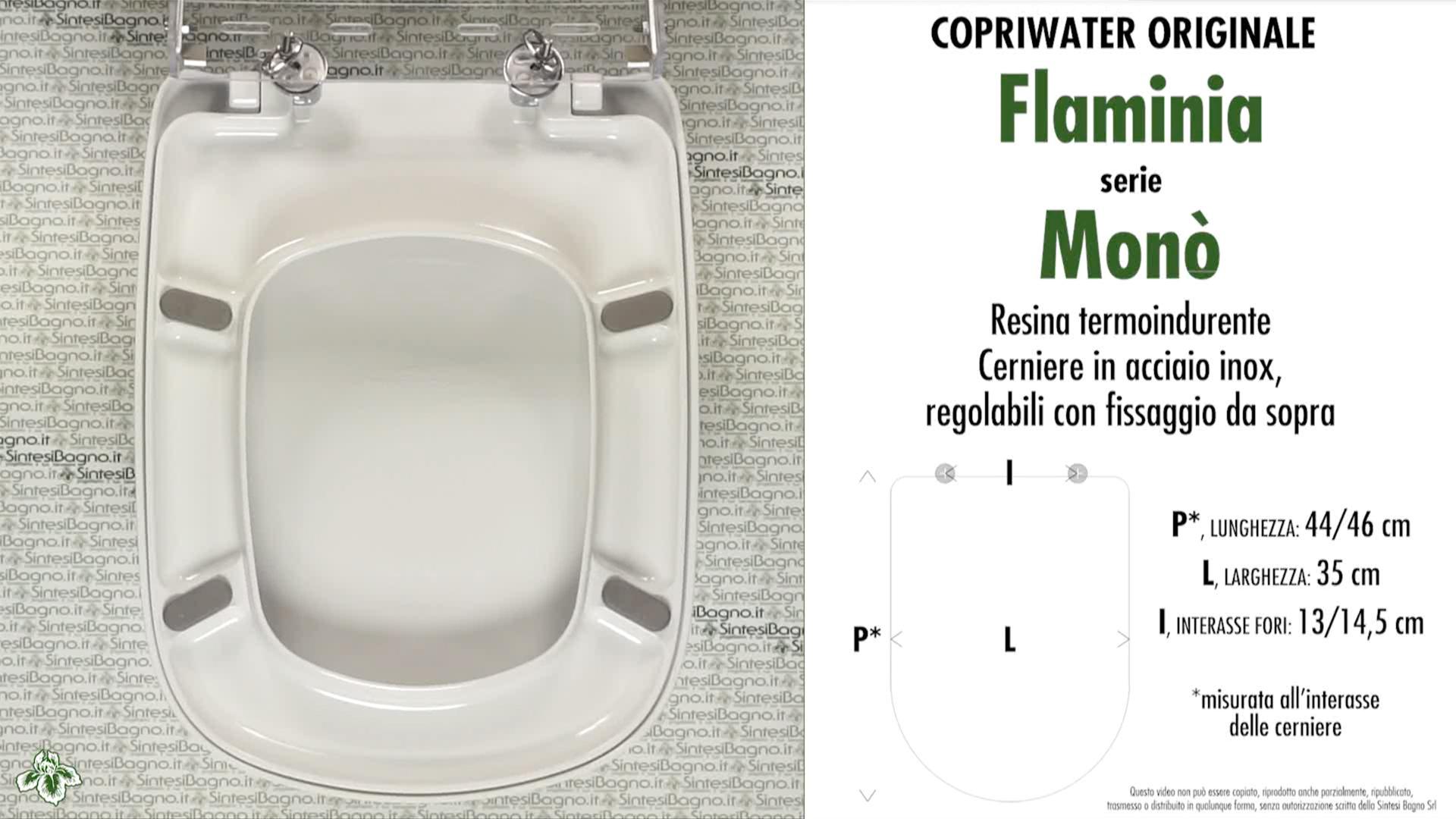 SCHEDA TECNICA MISURE copriwater FLAMINIA MONO'