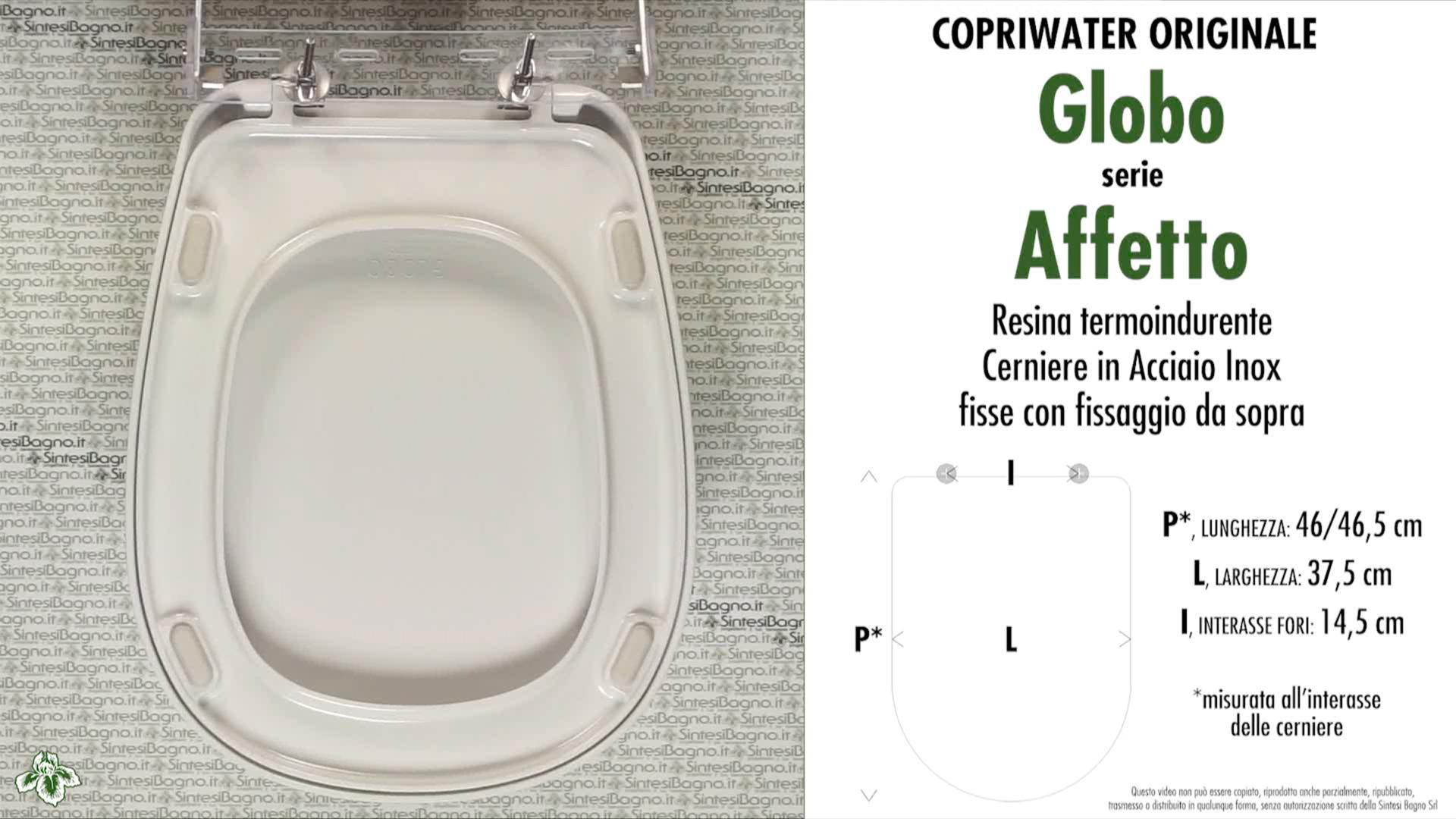 SCHEDA TECNICA MISURE copriwater GLOBO AFFETTO