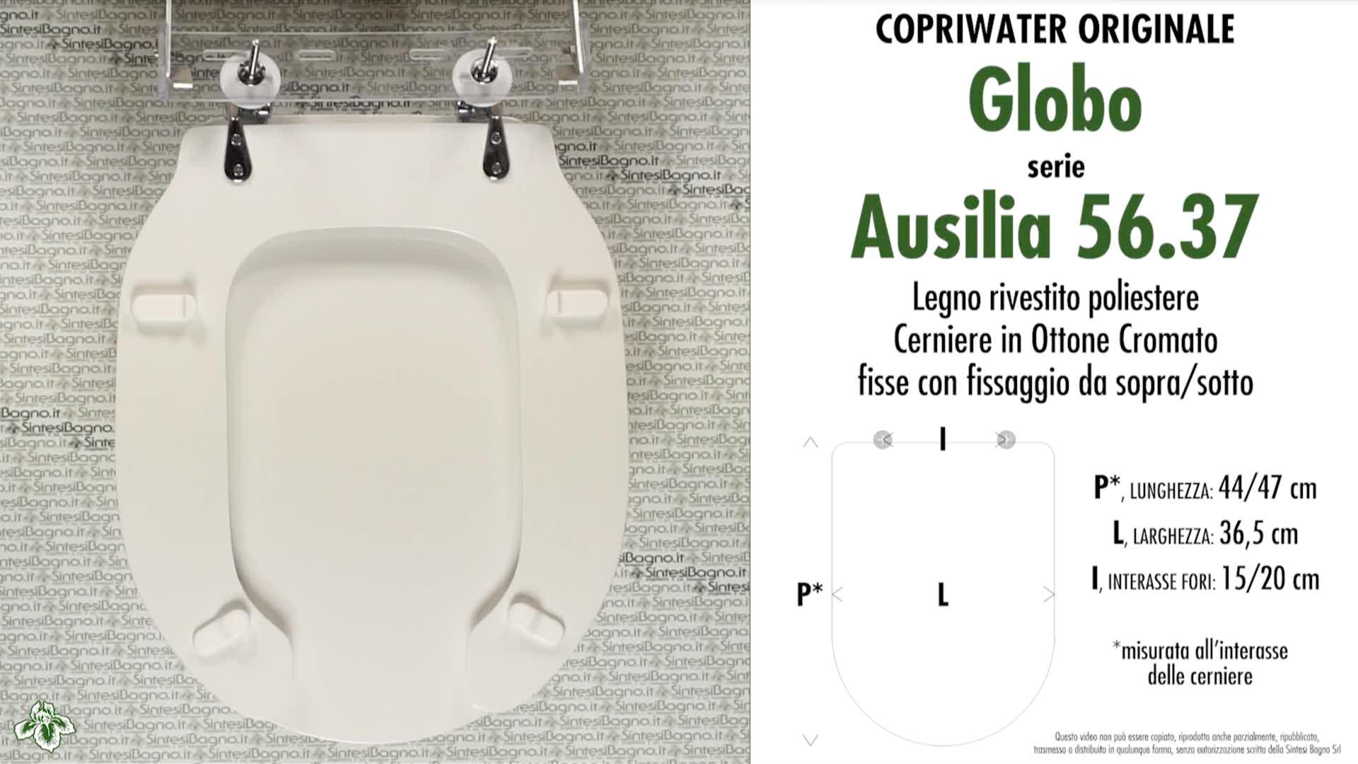 SCHEDA TECNICA MISURE copriwater GLOBO AUSILIA