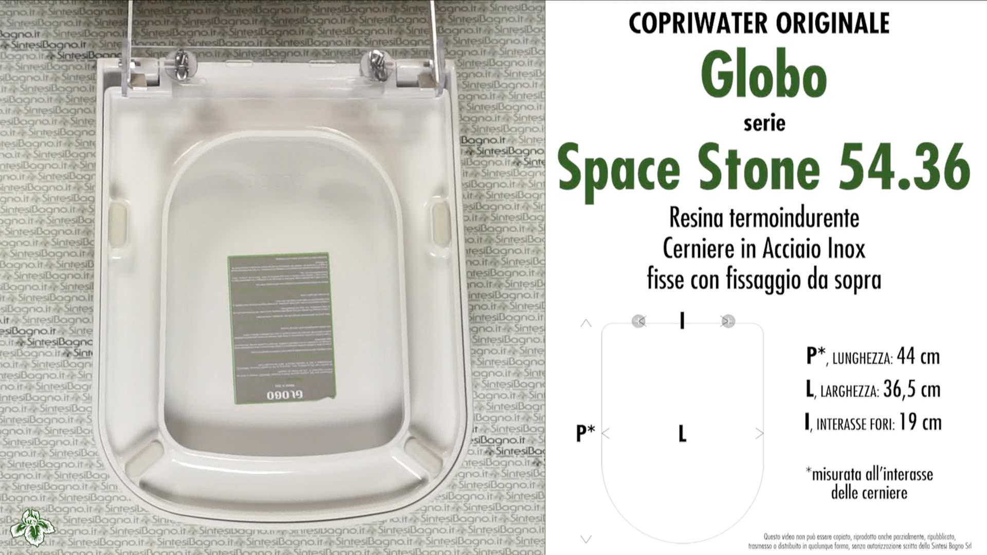 SCHEDA TECNICA MISURE copriwater GLOBO SPACE STONE