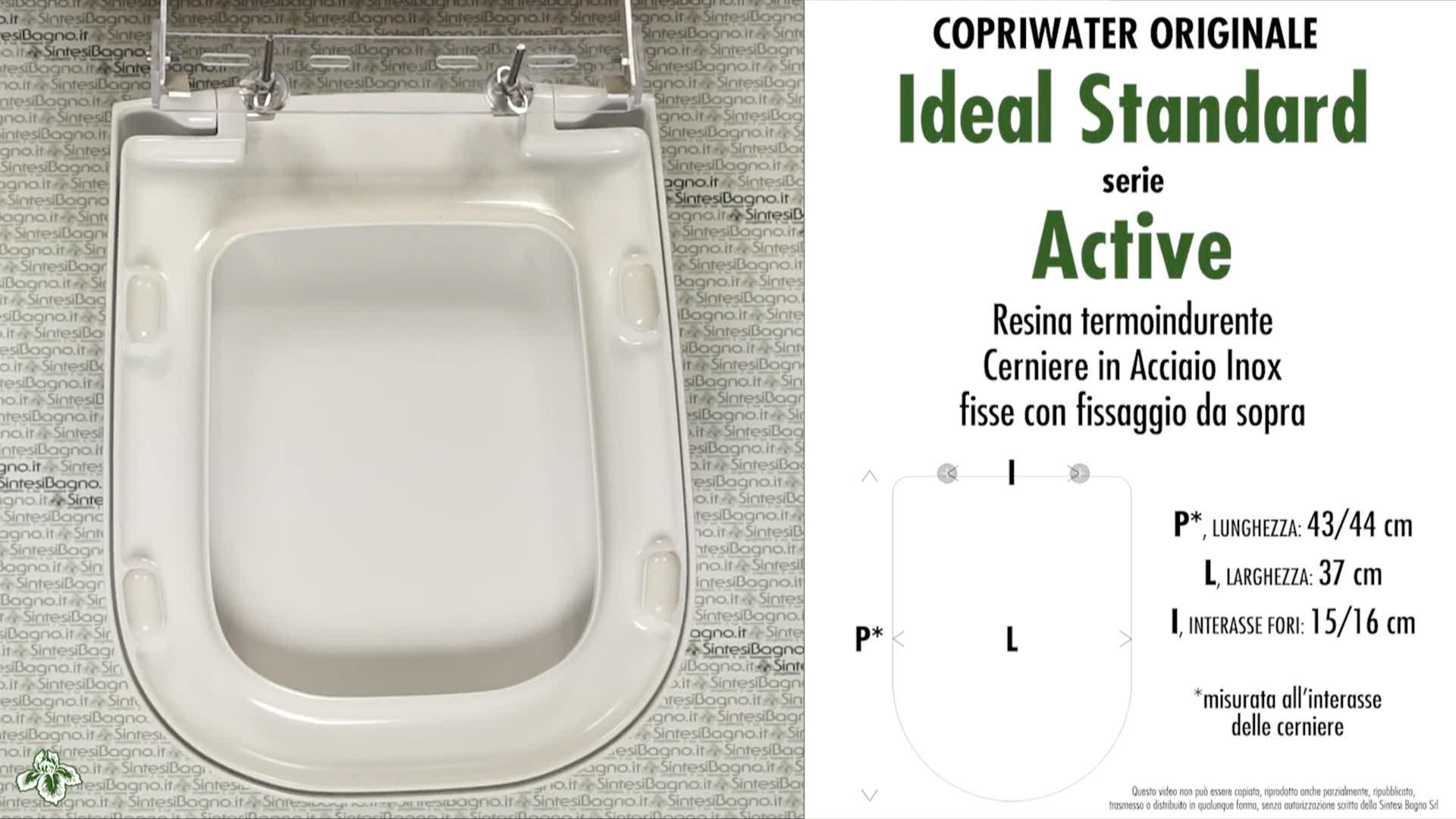 SCHEDA TECNICA MISURE copriwater IDEAL STANDARD ACTIVE