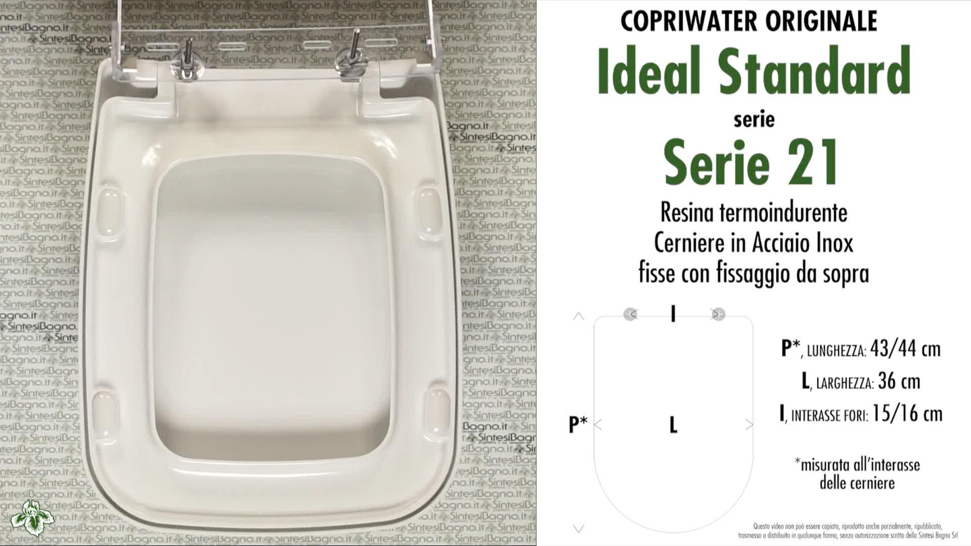 SCHEDA TECNICA MISURE copriwater IDEAL STANDARD SERIE 21