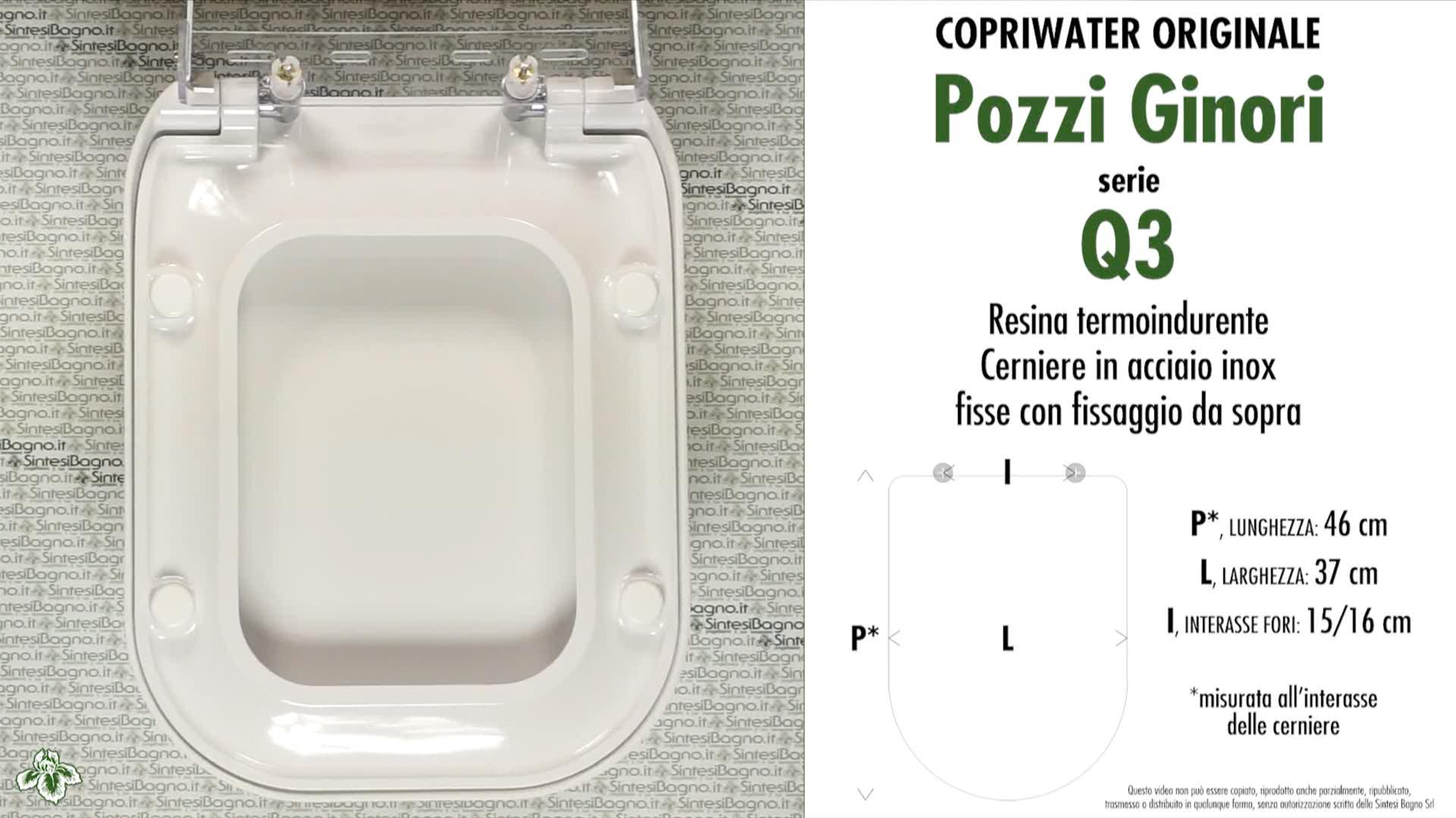 SCHEDA TECNICA MISURE copriwater POZZI GINORI Q3