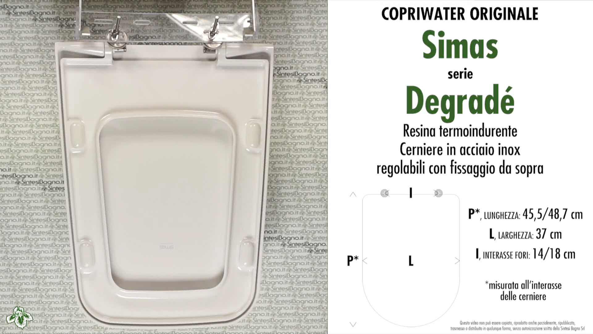 SCHEDA TECNICA MISURE copriwater SIMAS DEGRADE'