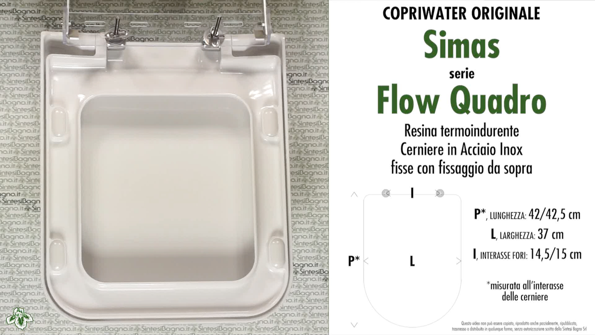 SCHEDA TECNICA MISURE copriwater SIMAS FLOW