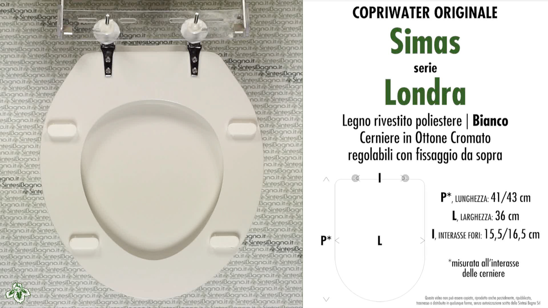 SCHEDA TECNICA MISURE copriwater SIMAS LONDRA