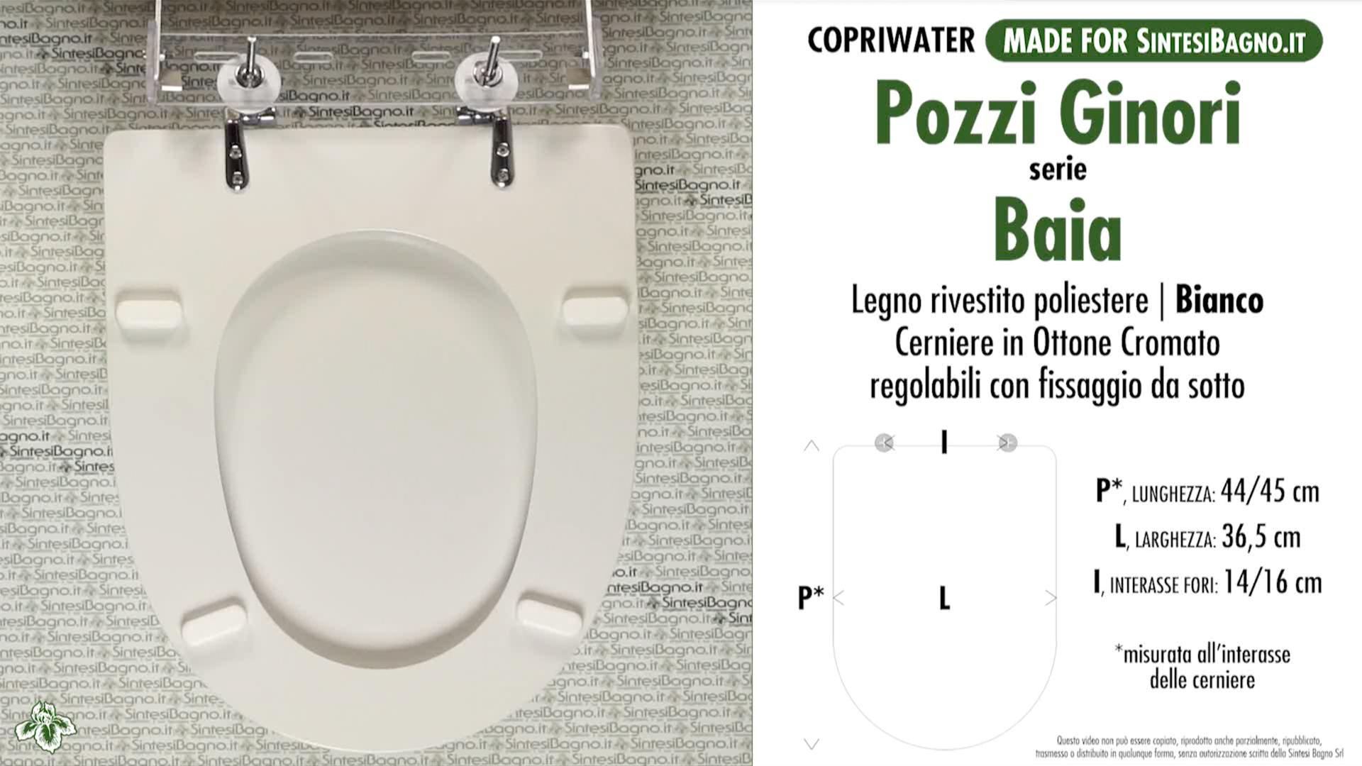 SCHEDA TECNICA MISURE copriwater POZZI GINORI BAIA