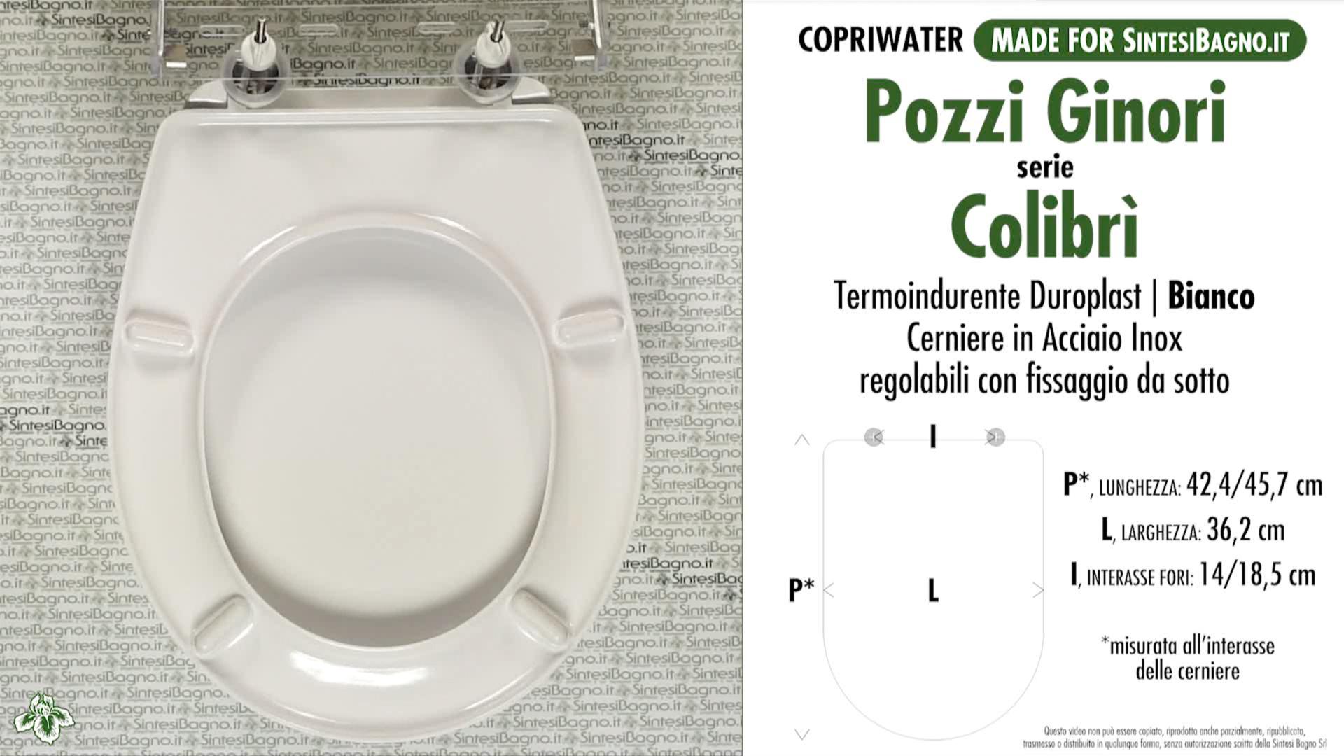 SCHEDA TECNICA MISURE copriwater POZZI GINORI COLIBRI'