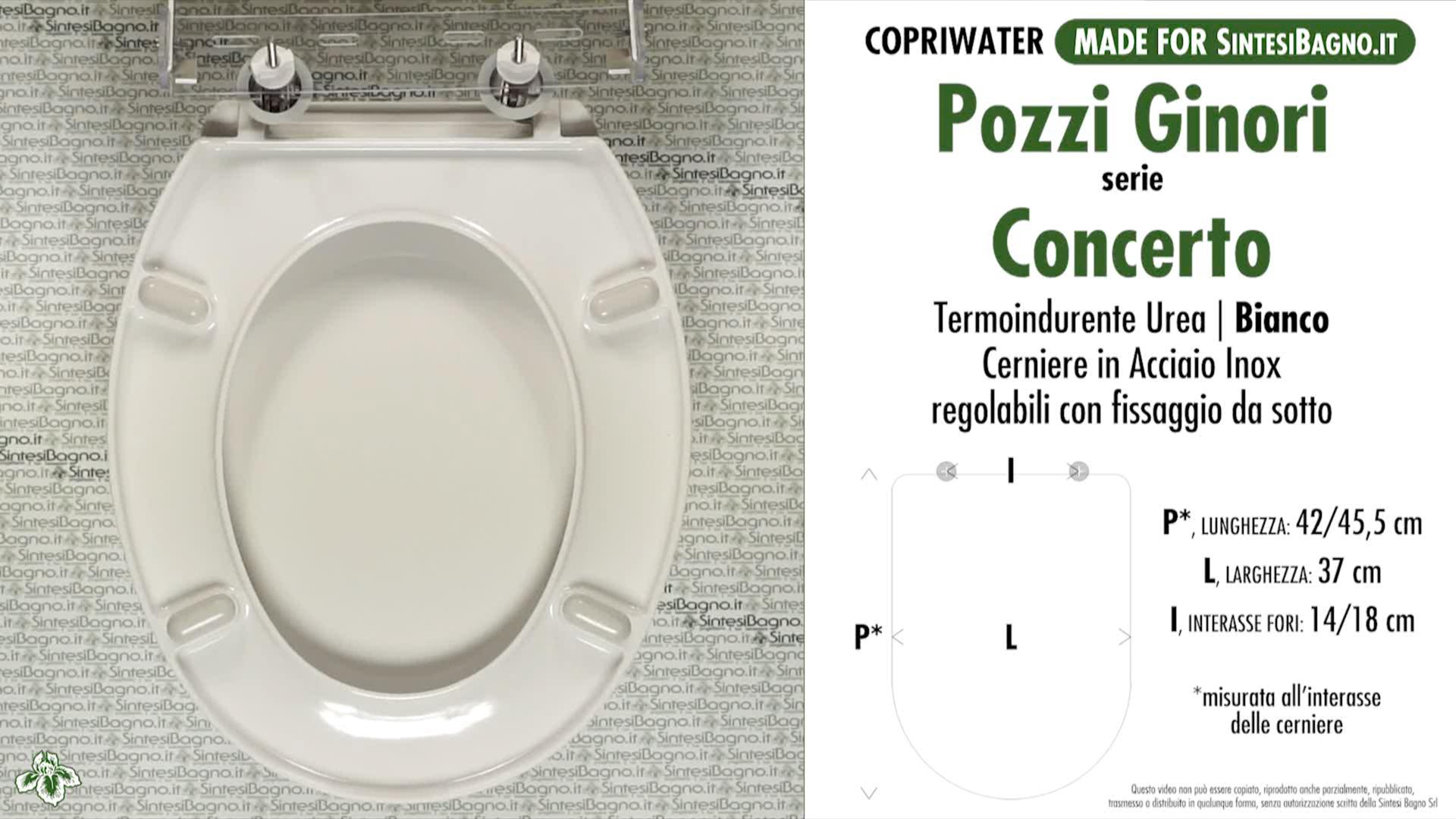SCHEDA TECNICA MISURE copriwater POZZI GINORI CONCERTO
