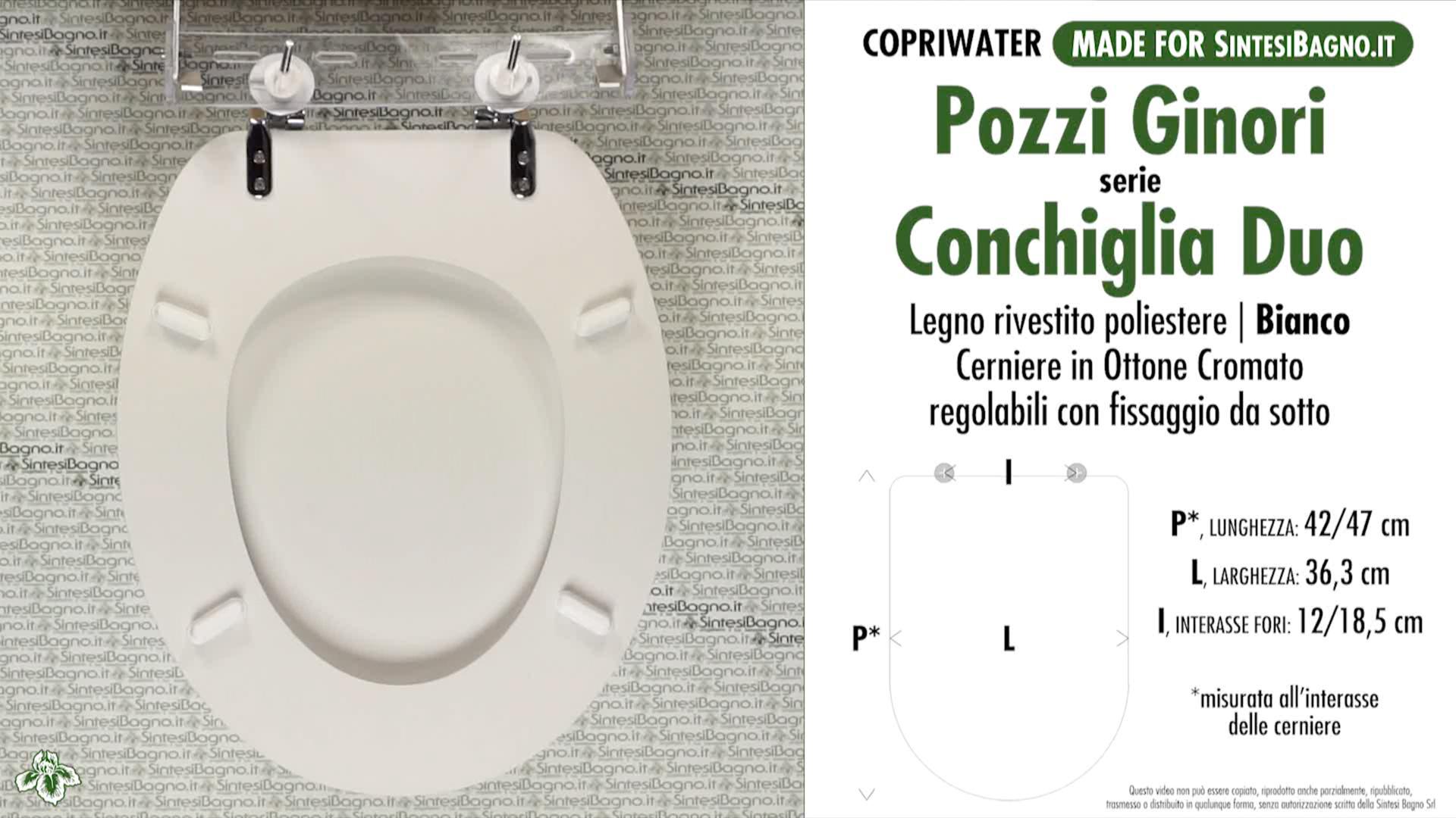 SCHEDA TECNICA MISURE copriwater POZZI GINORI CONCHGLIA DUO