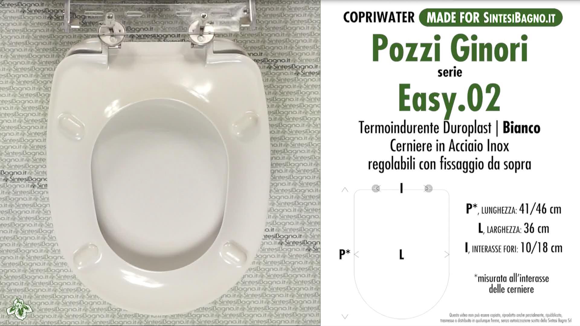 SCHEDA TECNICA MISURE copriwater POZZI GINORI EASY.02