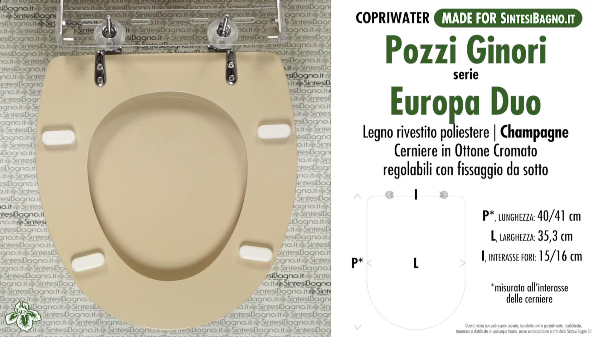 SCHEDA TECNICA MISURE copriwater POZZI GINORI EUROPA DUO