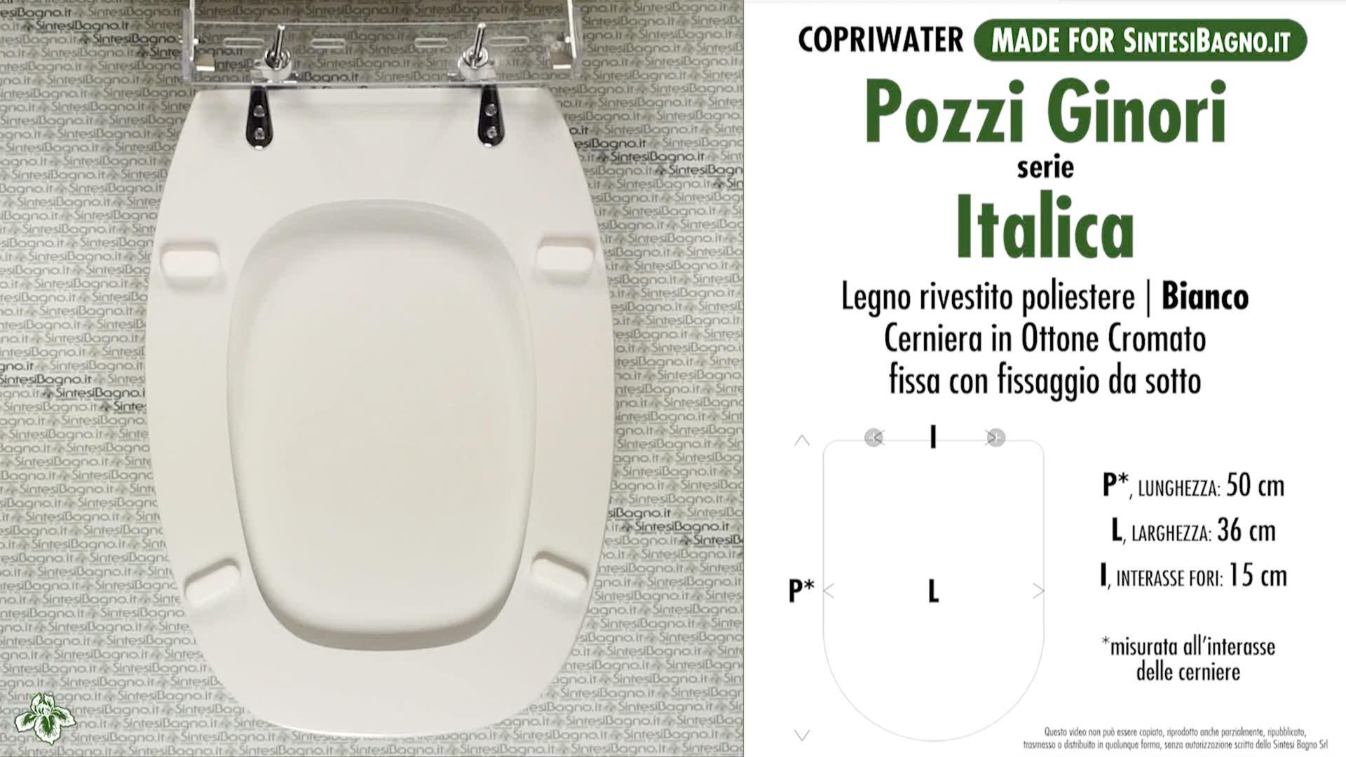 SCHEDA TECNICA MISURE copriwater POZZI GINORI ITALICA