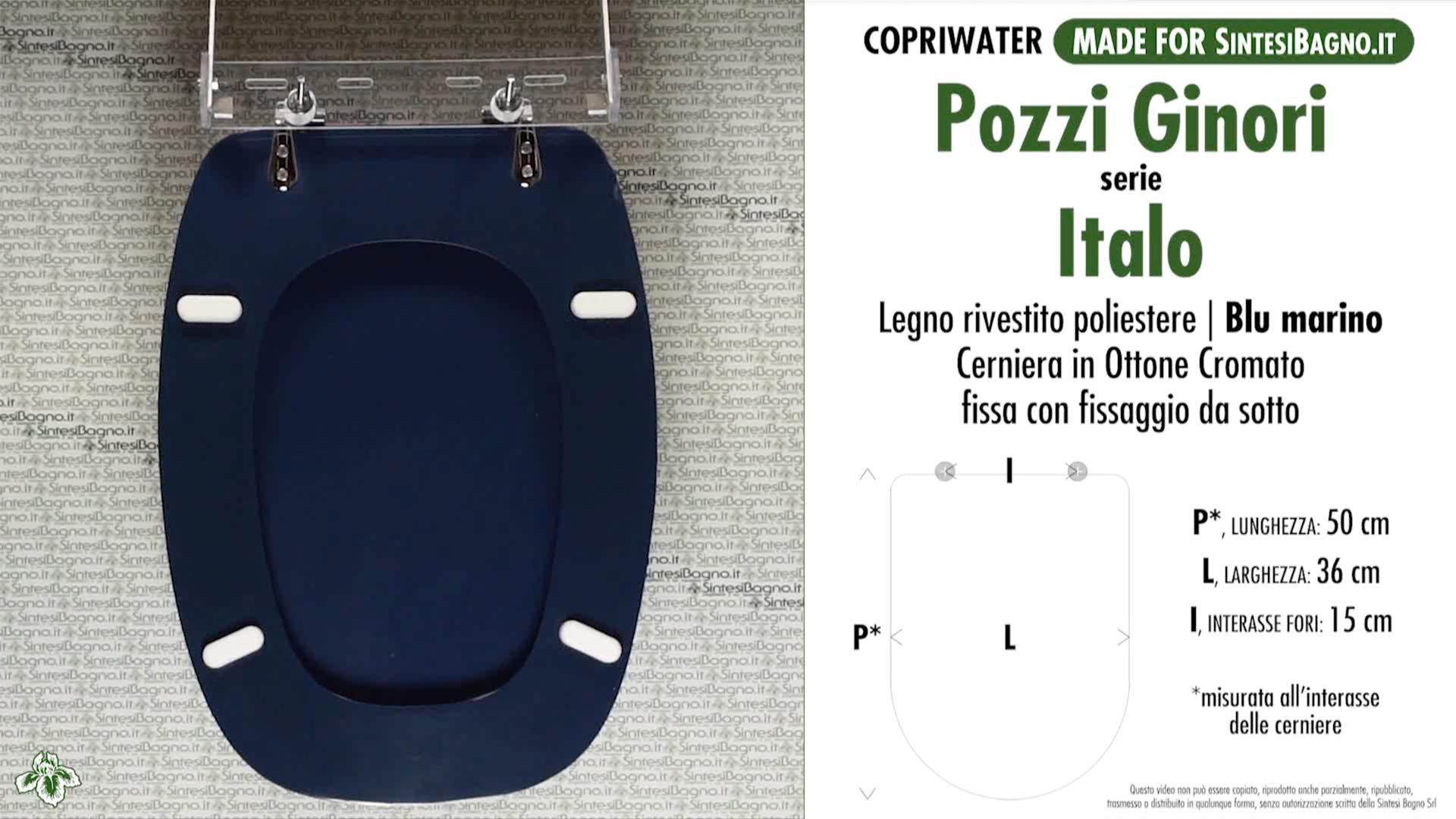 SCHEDA TECNICA MISURE copriwater POZZI GINORI ITALO
