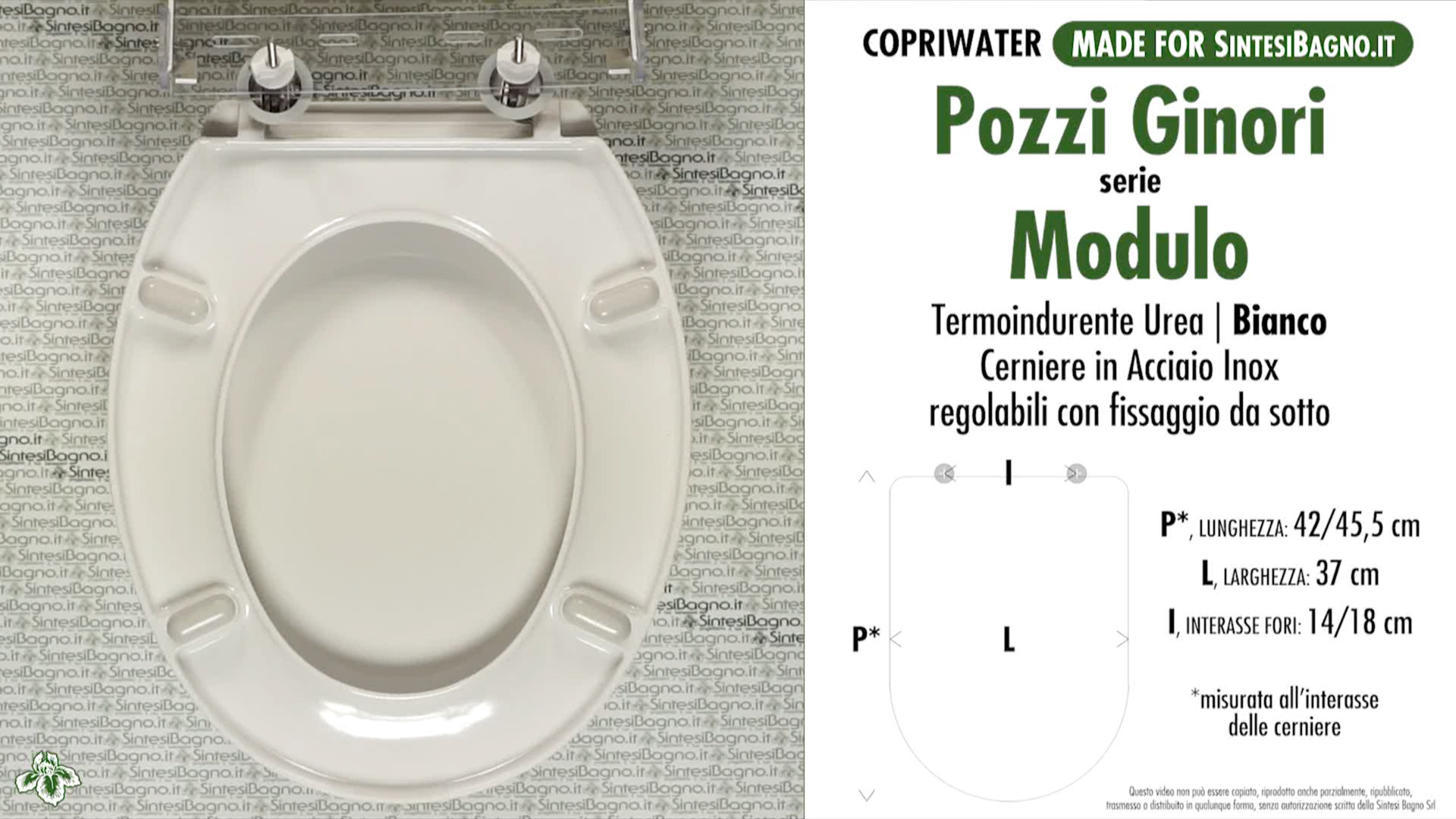 SCHEDA TECNICA MISURE copriwater POZZI GINORI MODULO