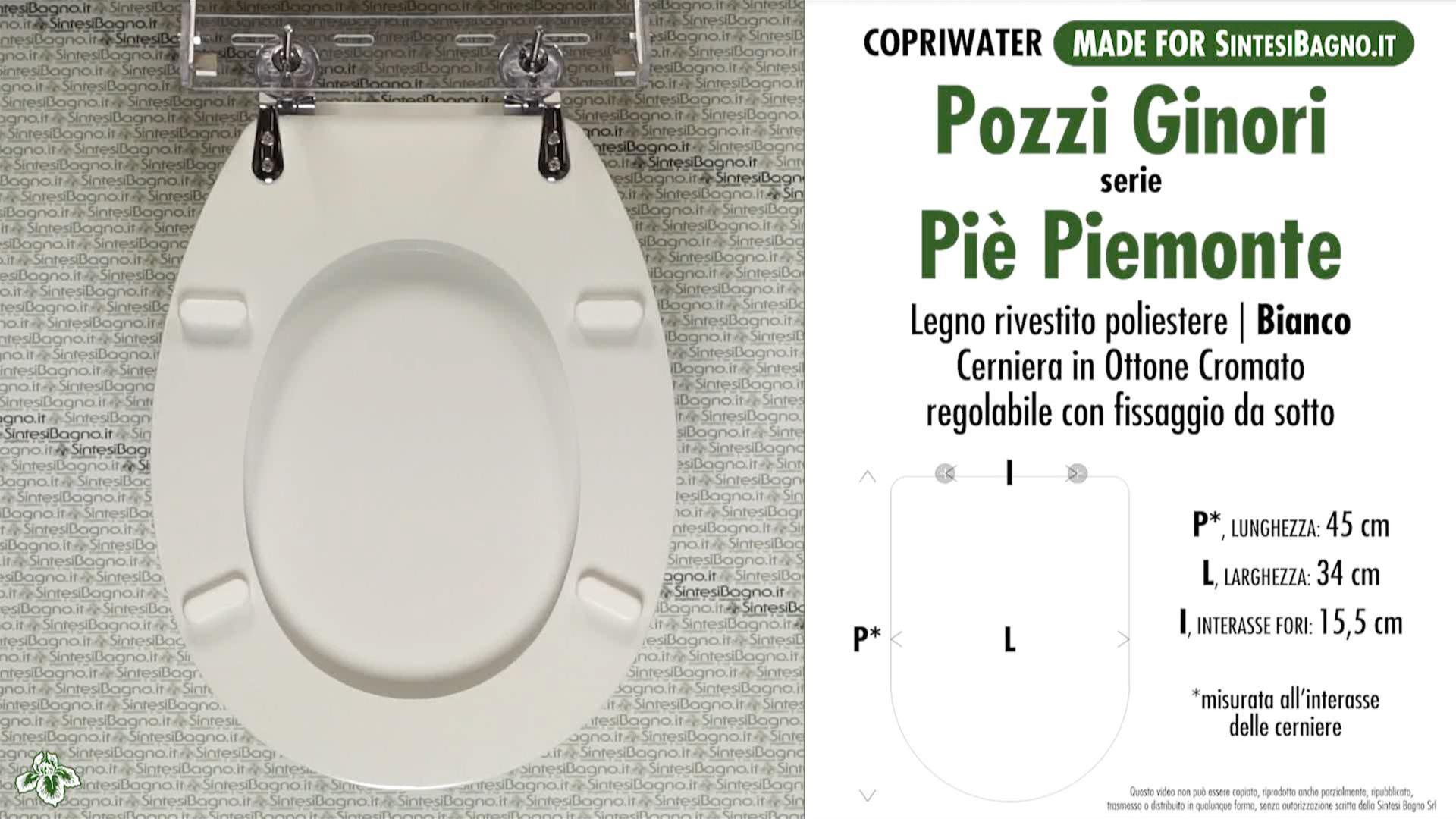 SCHEDA TECNICA MISURE copriwater POZZI GINORI PIE' PIEMONTE PIEMONTESINA