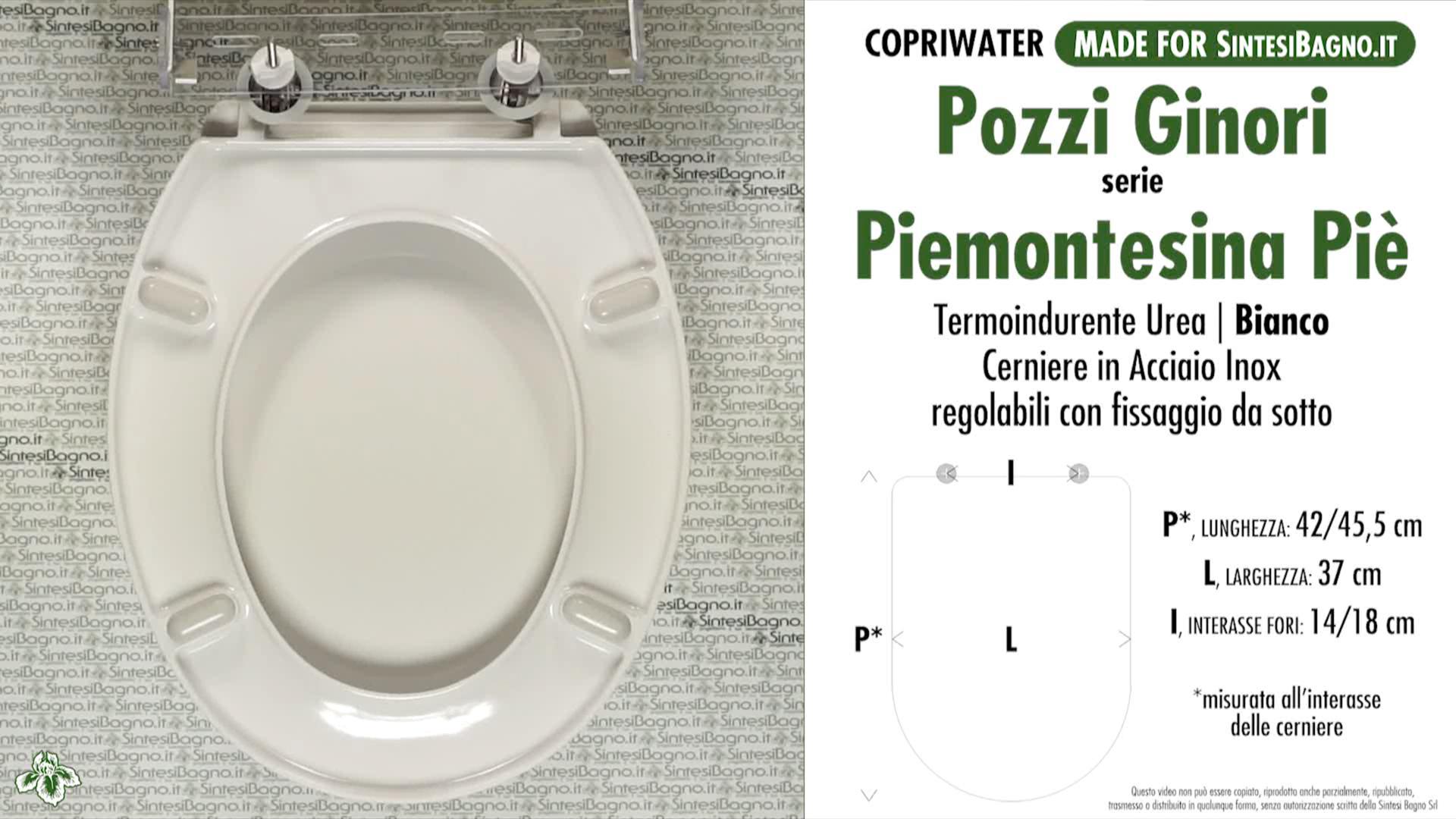SCHEDA TECNICA MISURE copriwater POZZI GINORI PIEMONTESINA PIE' MONOBLOCCO