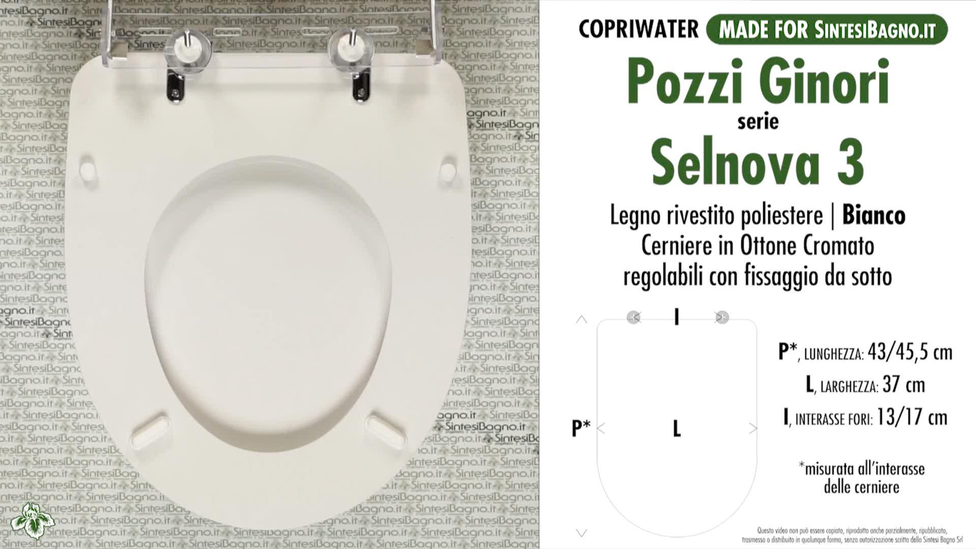 SCHEDA TECNICA MISURE copriwater POZZI GINORI SELNOVA 3