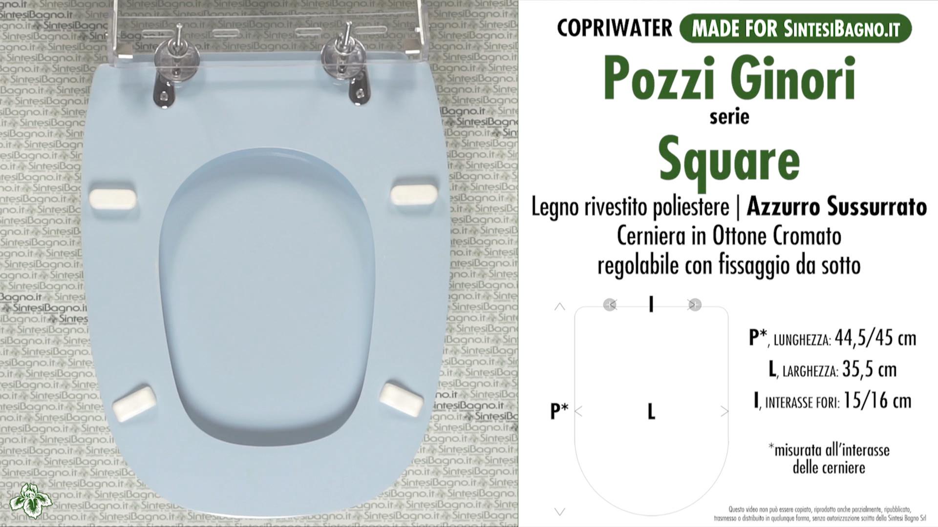 SCHEDA TECNICA MISURE copriwater POZZI GINORI SQUARE