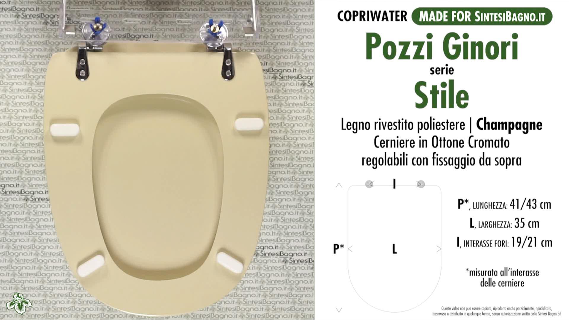 SCHEDA TECNICA MISURE copriwater POZZI GINORI STILE